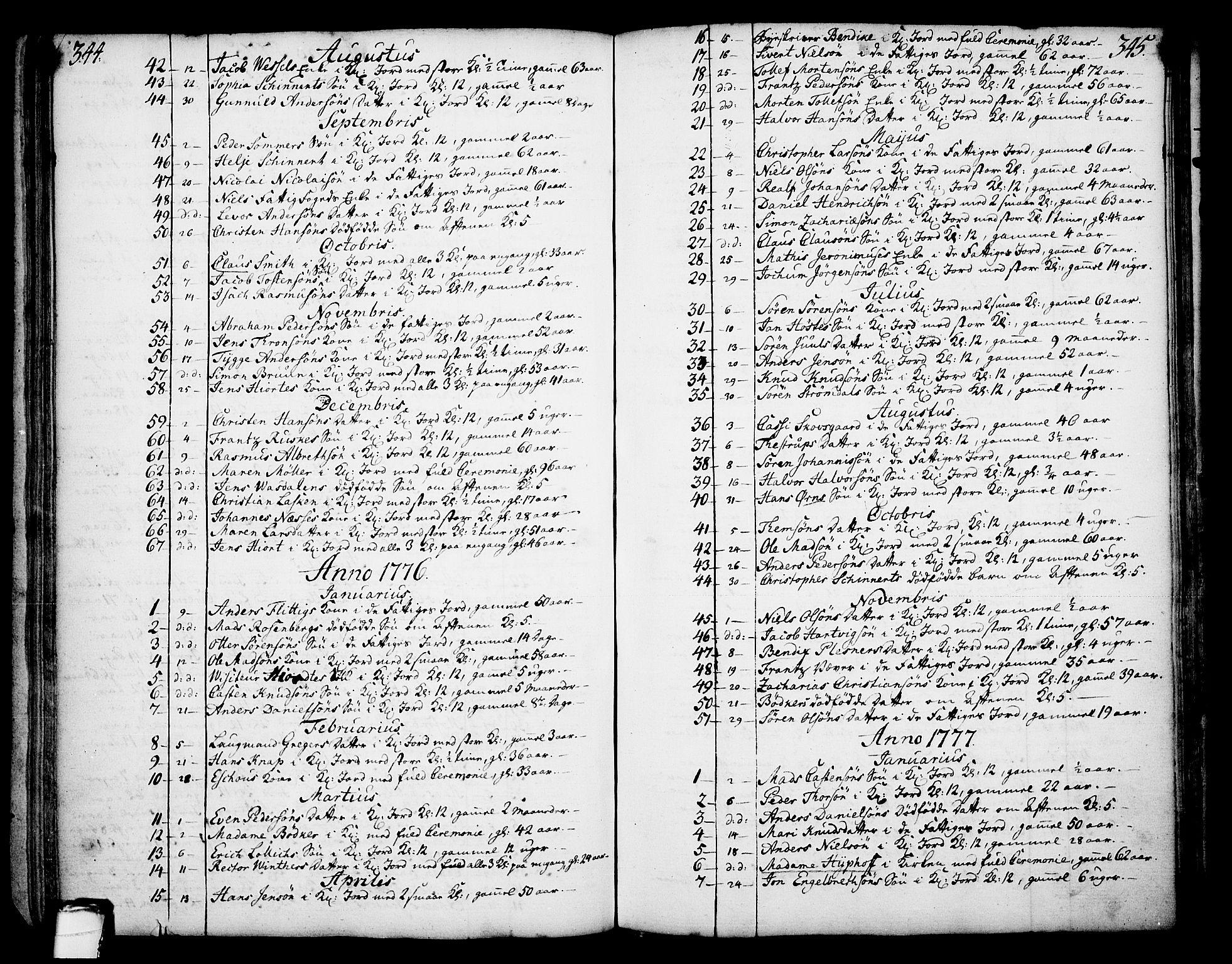 SAKO, Skien kirkebøker, F/Fa/L0003: Ministerialbok nr. 3, 1755-1791, s. 344-345