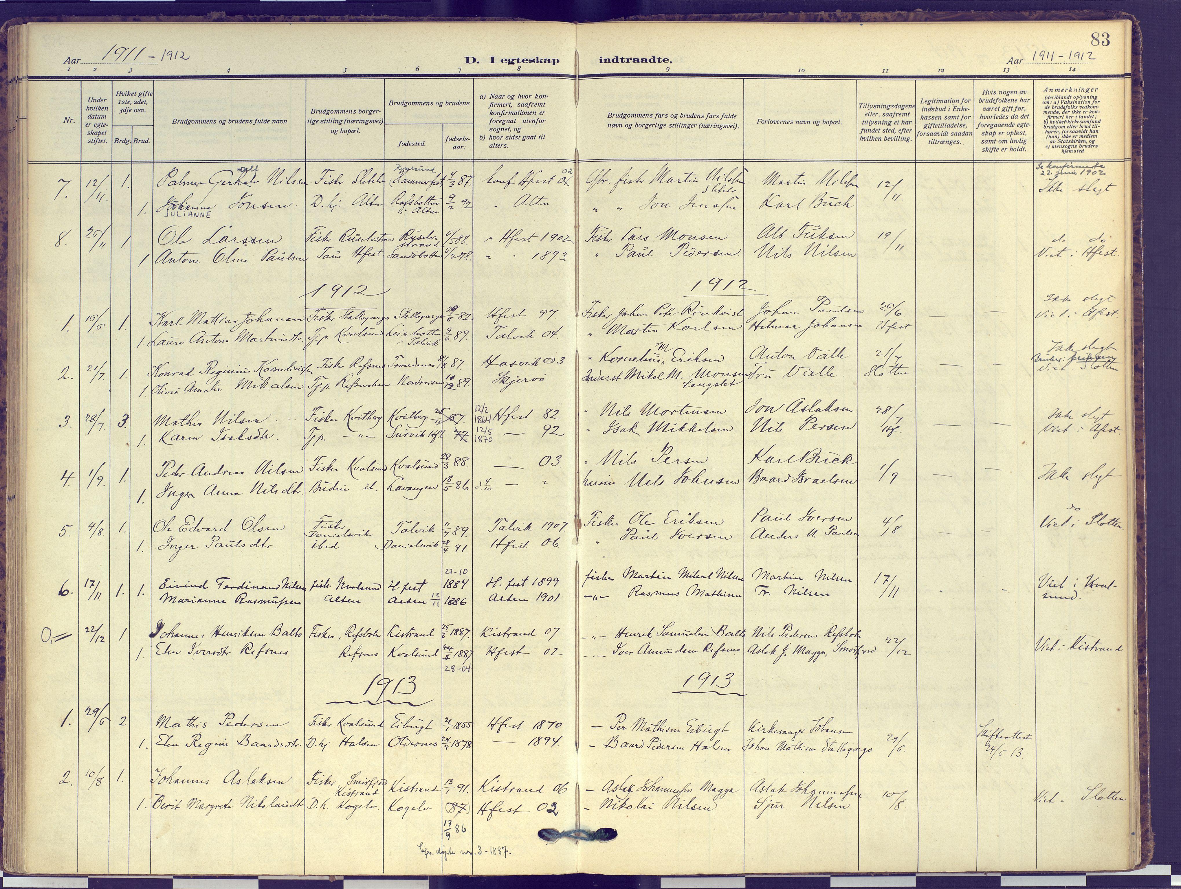 SATØ, Hammerfest sokneprestembete, Ministerialbok nr. 16, 1908-1923, s. 83