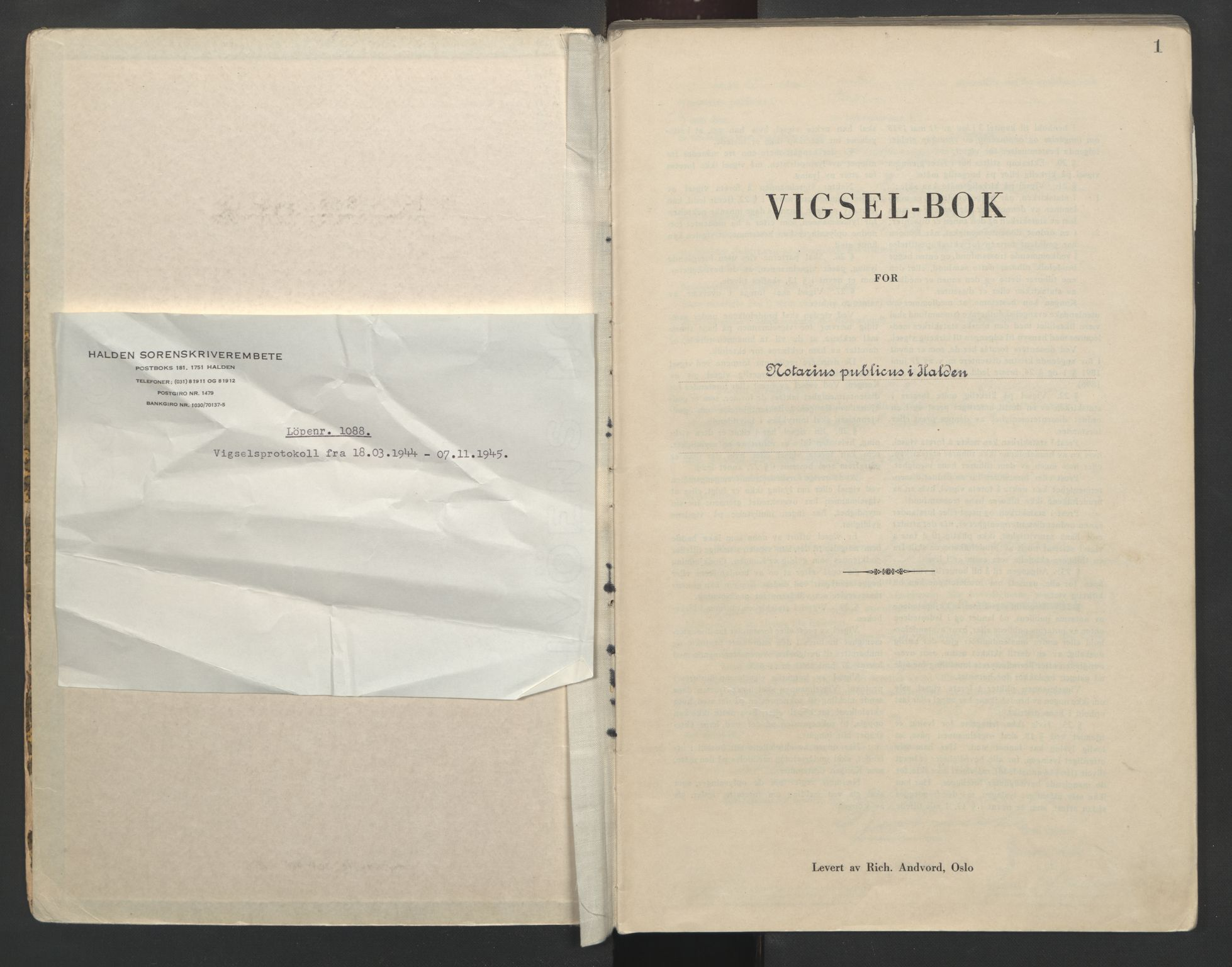 SAO, Idd og Marker sorenskriveri, L/Lc/L0001: Vigselsbøker, 1944-1945, s. 1