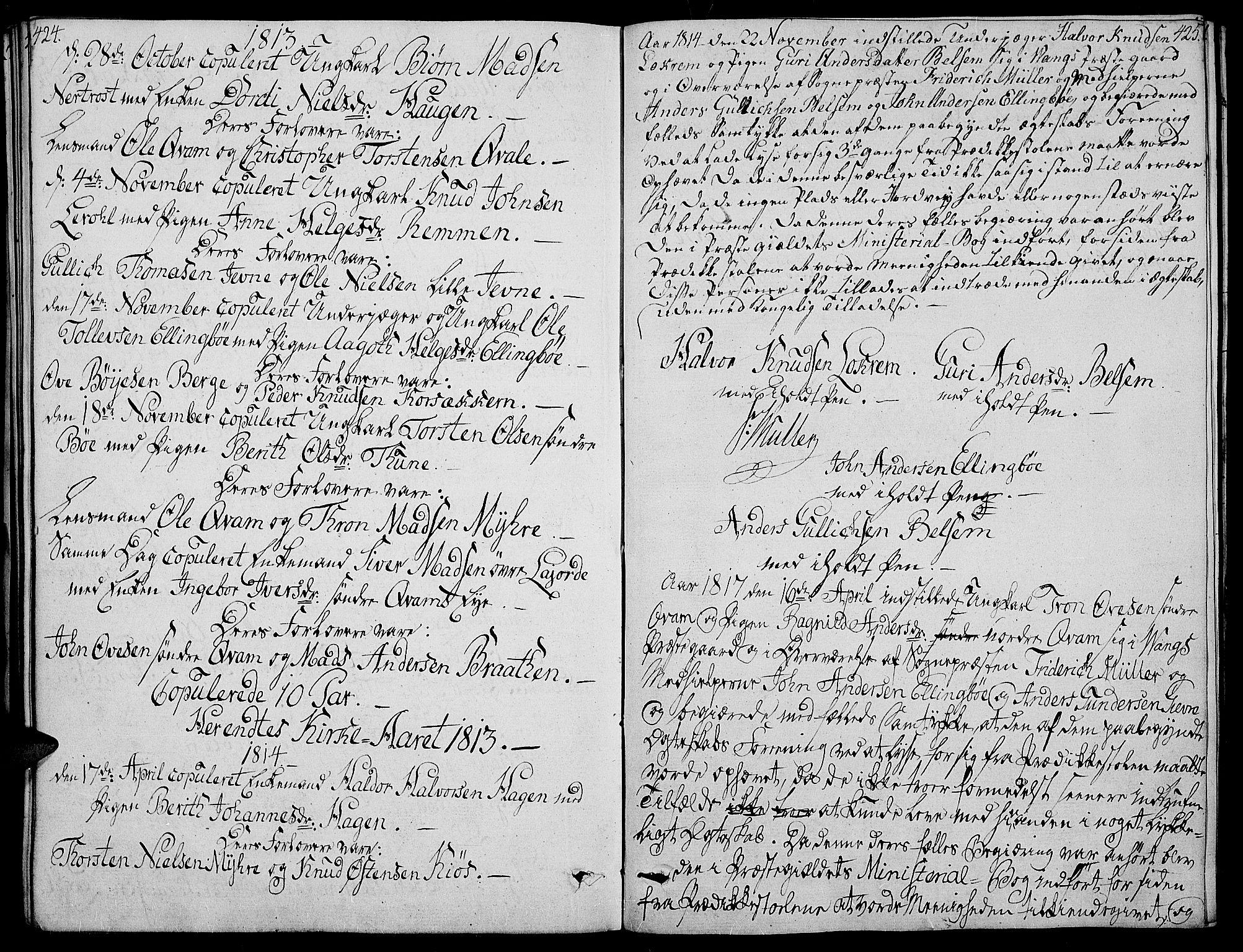 SAH, Vang prestekontor, Valdres, Ministerialbok nr. 3, 1809-1831, s. 424-425