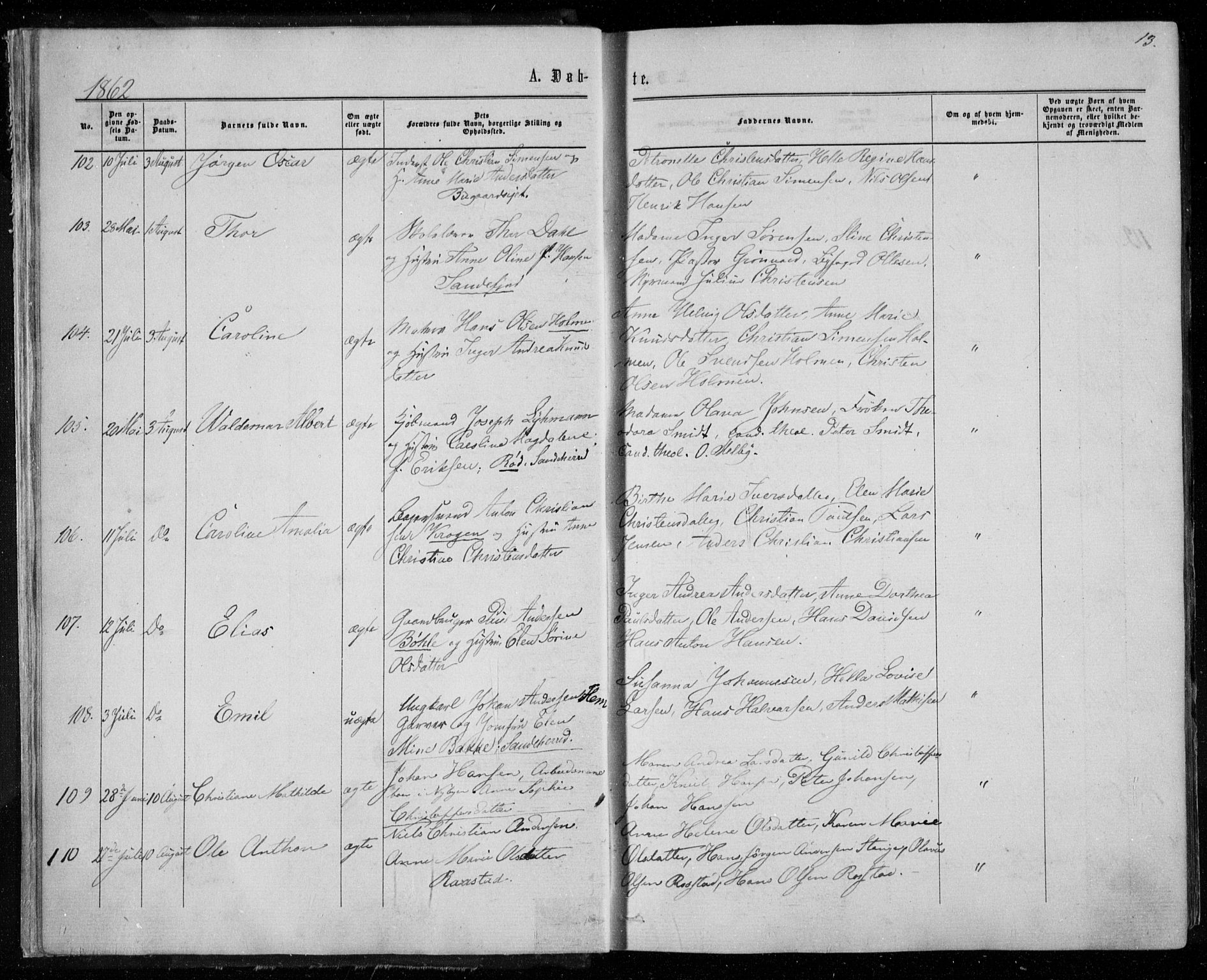 SAKO, Sandar kirkebøker, F/Fa/L0008: Ministerialbok nr. 8, 1862-1871, s. 13