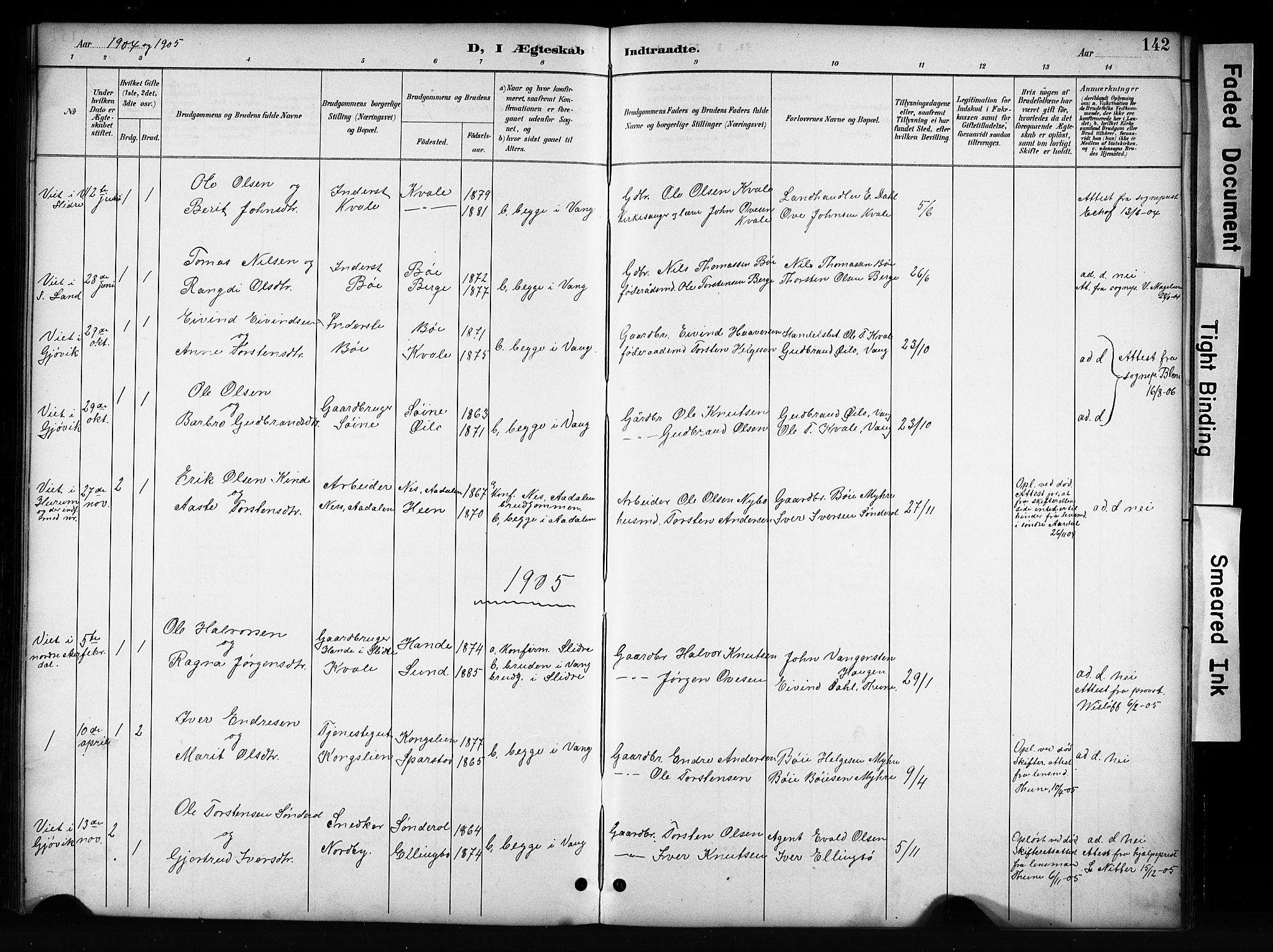 SAH, Vang prestekontor, Valdres, Klokkerbok nr. 6, 1893-1918, s. 142