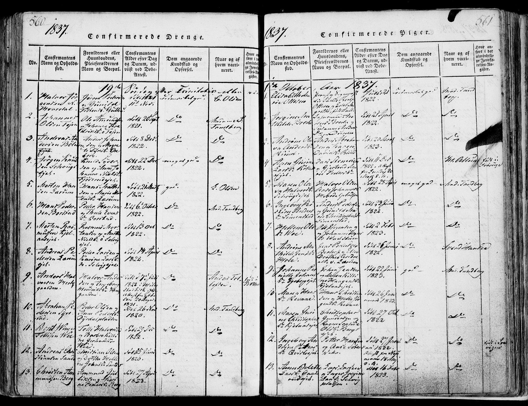 SAKO, Sande Kirkebøker, F/Fa/L0003: Ministerialbok nr. 3, 1814-1847, s. 560-561