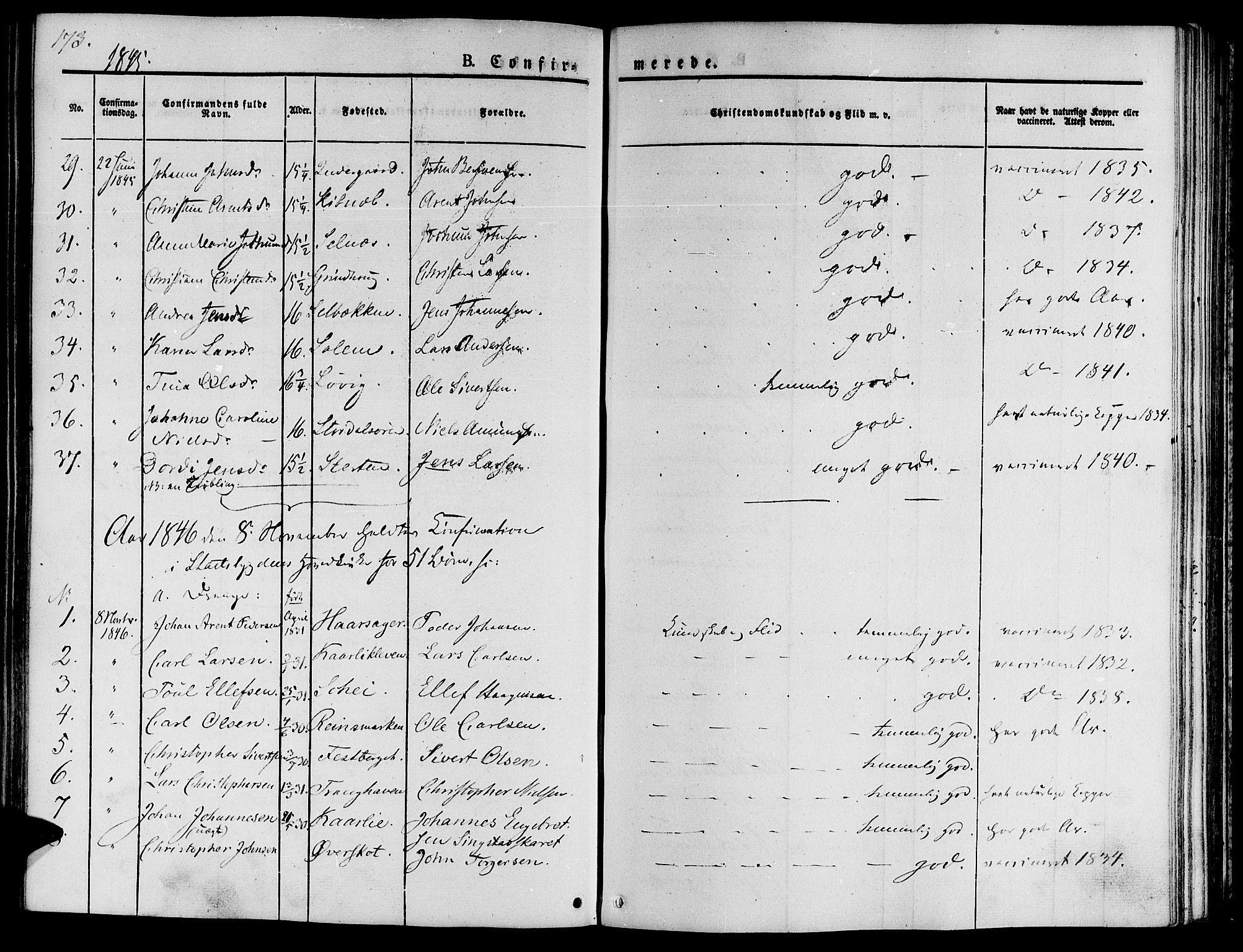 SAT, Ministerialprotokoller, klokkerbøker og fødselsregistre - Sør-Trøndelag, 646/L0610: Ministerialbok nr. 646A08, 1837-1847, s. 173