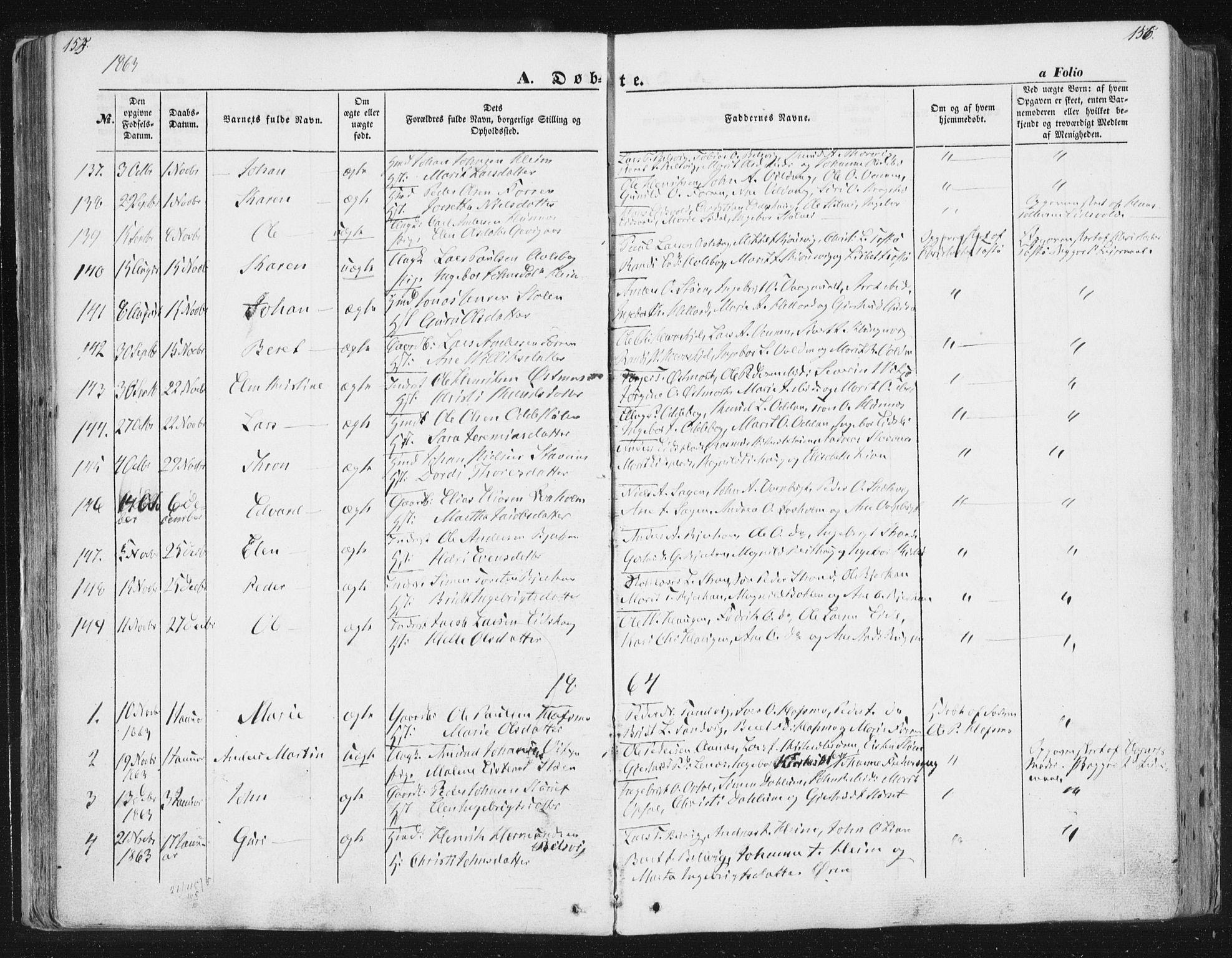 SAT, Ministerialprotokoller, klokkerbøker og fødselsregistre - Sør-Trøndelag, 630/L0494: Ministerialbok nr. 630A07, 1852-1868, s. 155-156