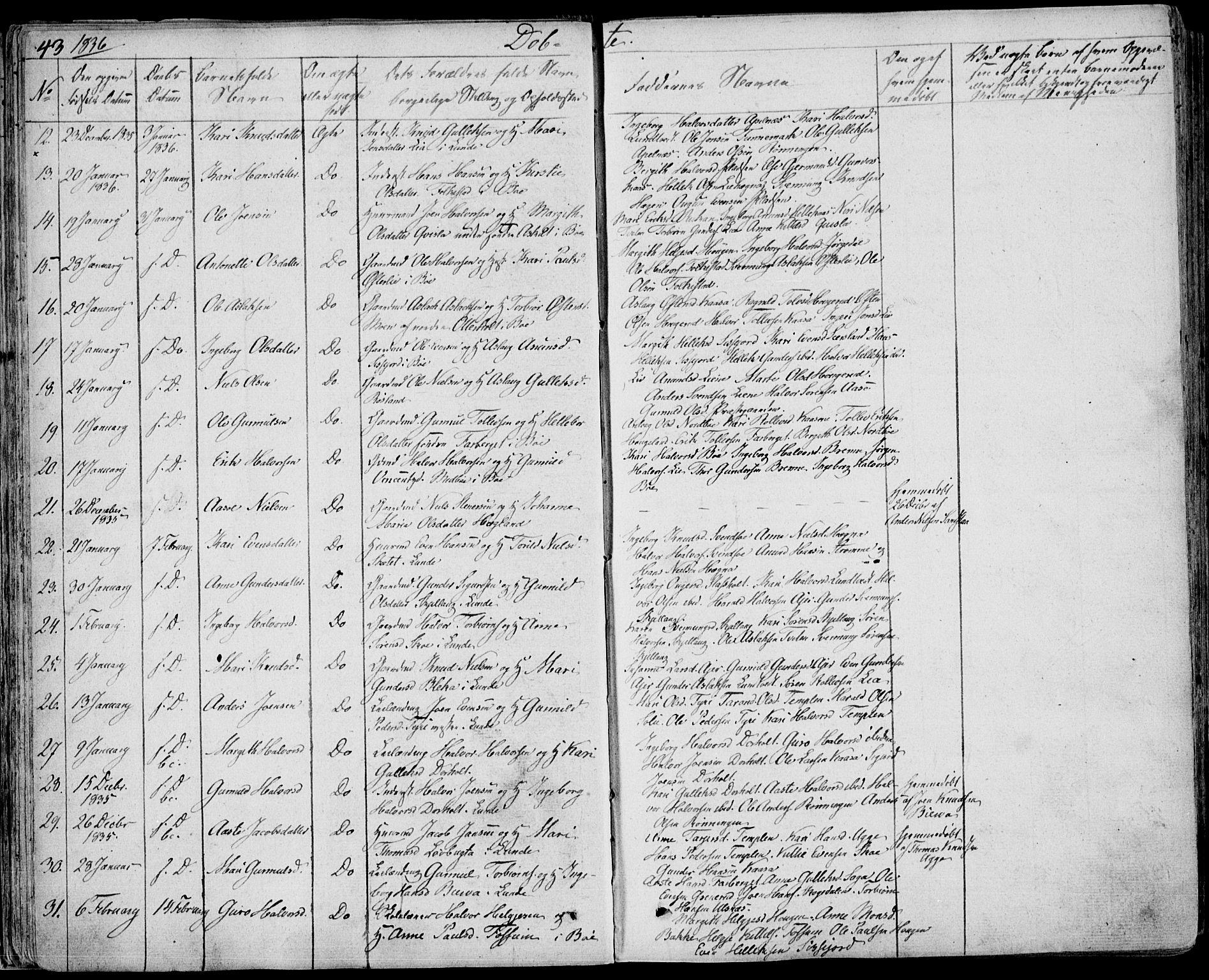 SAKO, Bø kirkebøker, F/Fa/L0007: Ministerialbok nr. 7, 1831-1848, s. 43