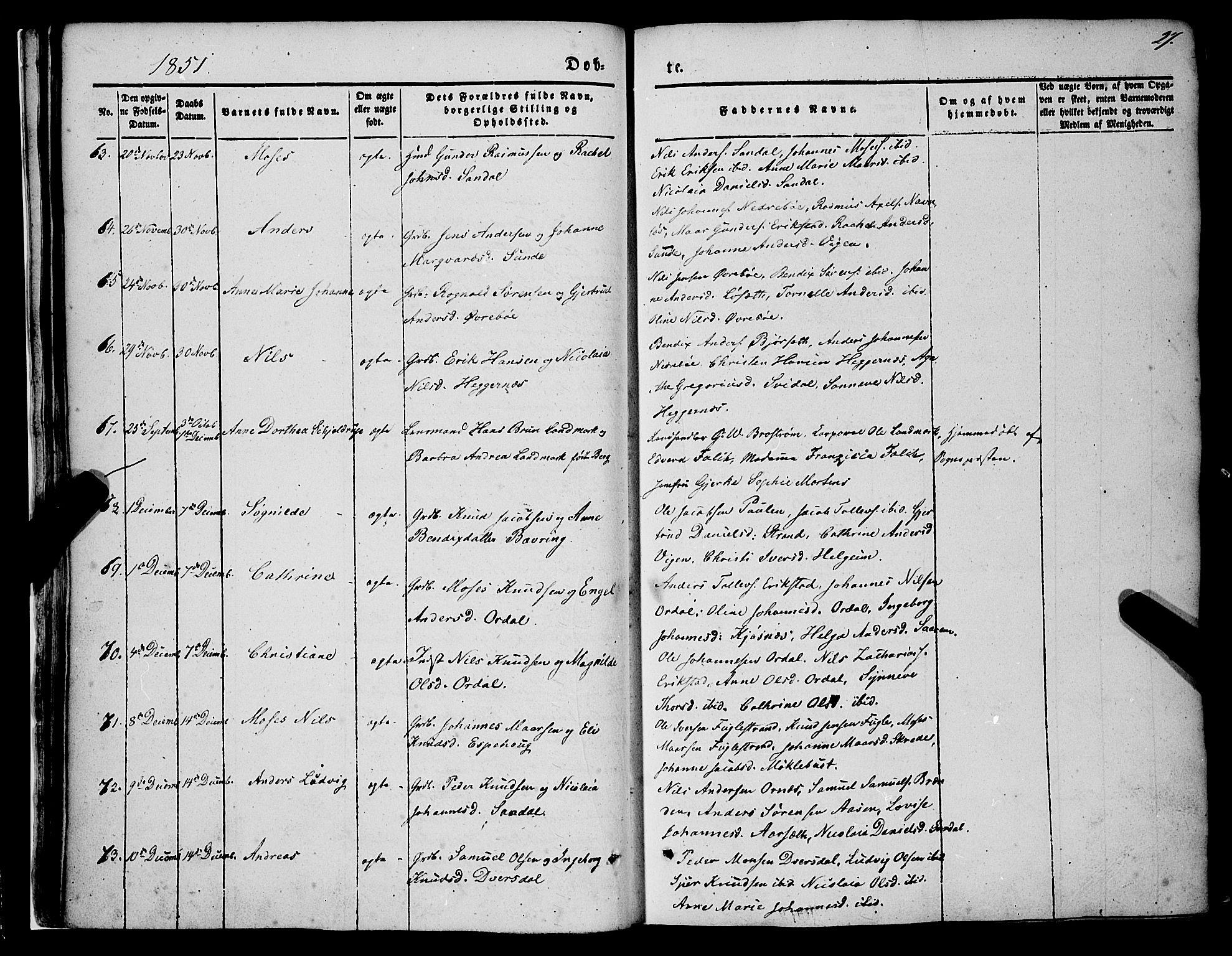 SAB, Jølster sokneprestembete, H/Haa/Haaa/L0010: Ministerialbok nr. A 10, 1847-1865, s. 27