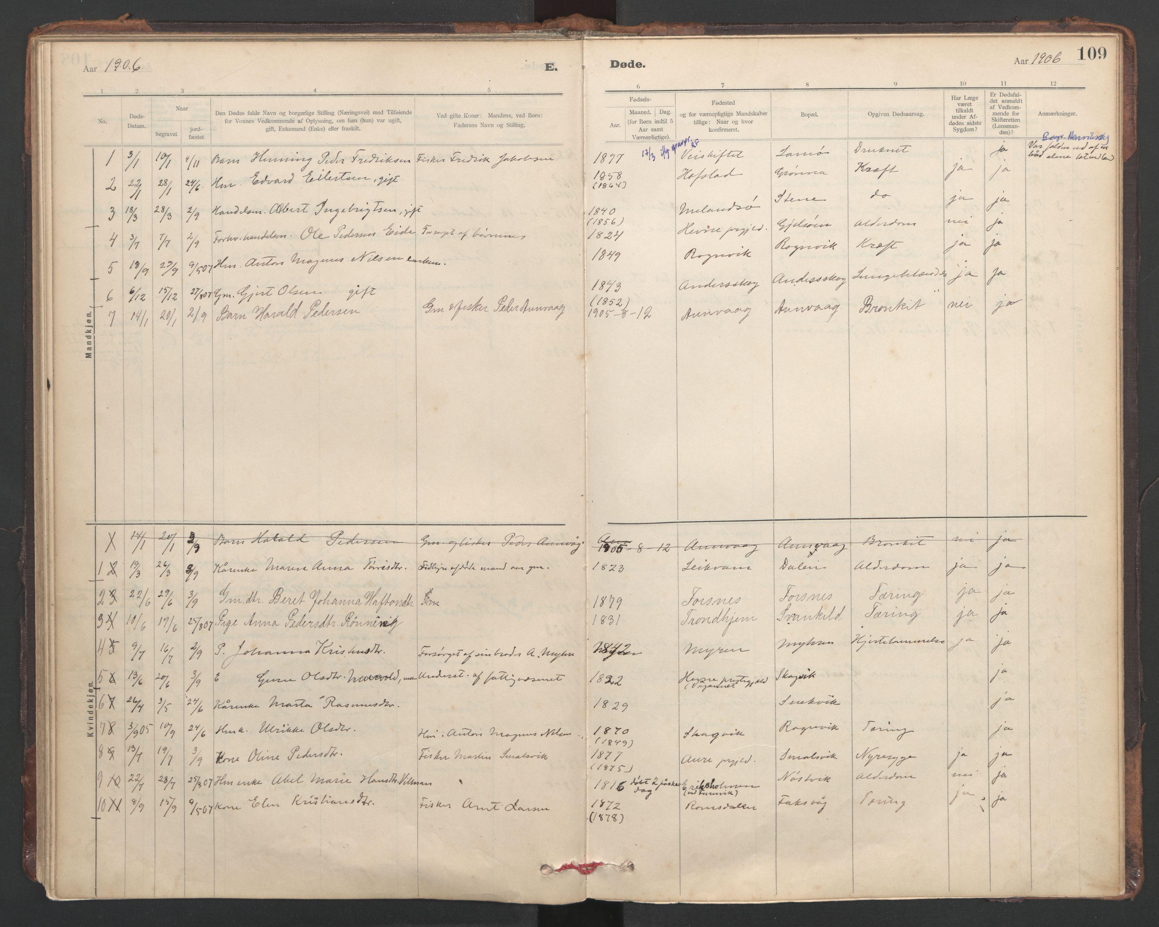 SAT, Ministerialprotokoller, klokkerbøker og fødselsregistre - Sør-Trøndelag, 635/L0552: Ministerialbok nr. 635A02, 1899-1919, s. 109