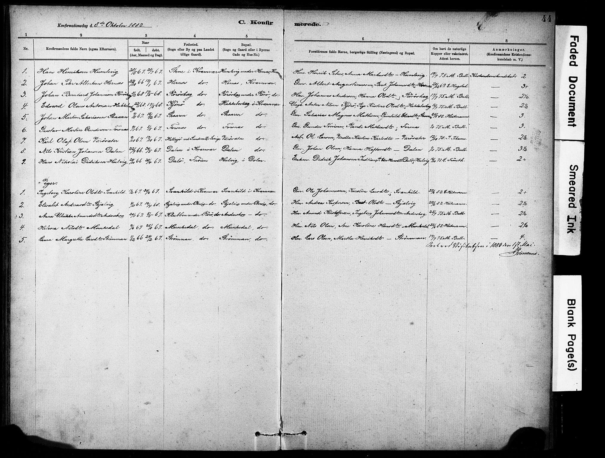 SAT, Ministerialprotokoller, klokkerbøker og fødselsregistre - Sør-Trøndelag, 635/L0551: Ministerialbok nr. 635A01, 1882-1899, s. 44