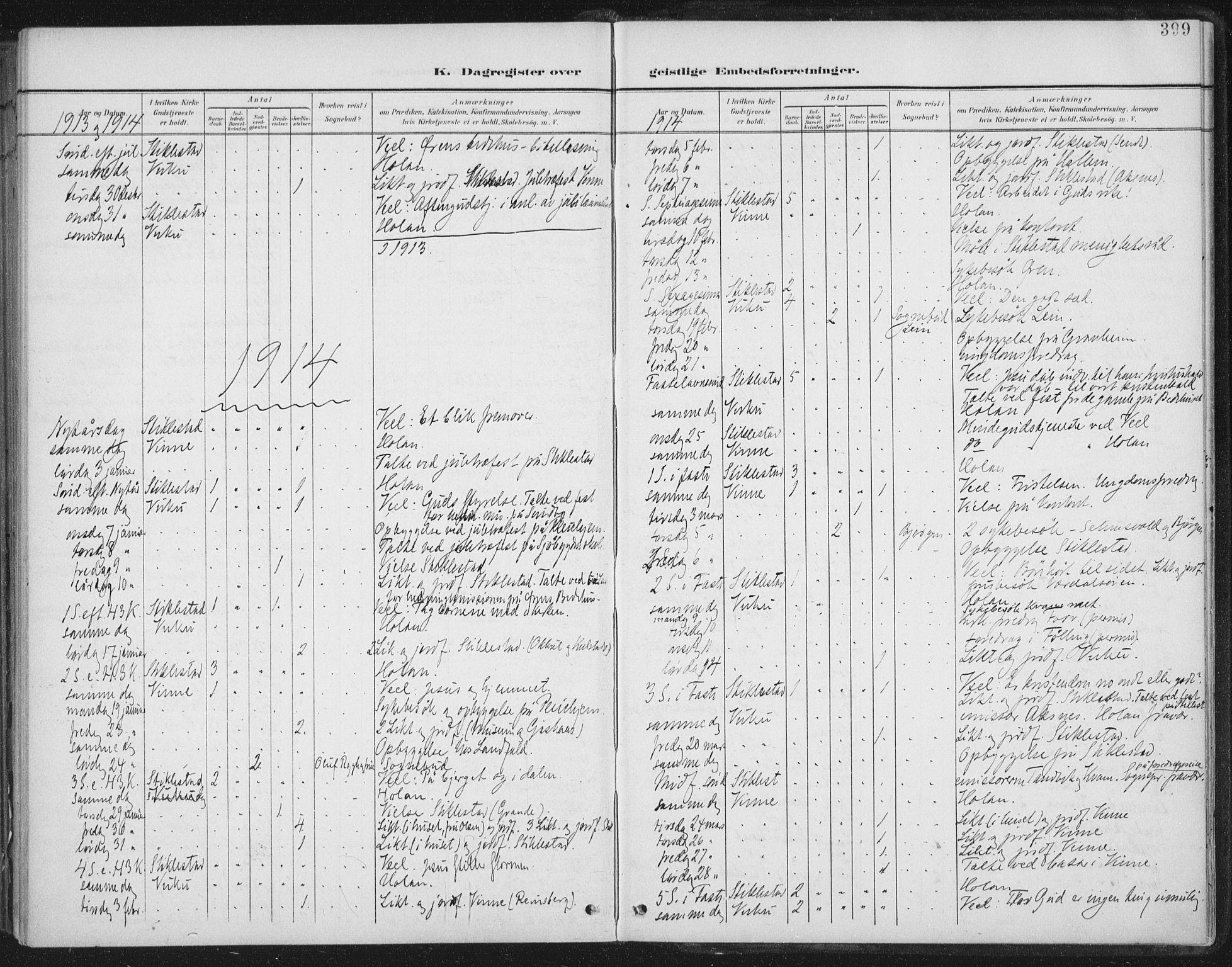 SAT, Ministerialprotokoller, klokkerbøker og fødselsregistre - Nord-Trøndelag, 723/L0246: Ministerialbok nr. 723A15, 1900-1917, s. 399