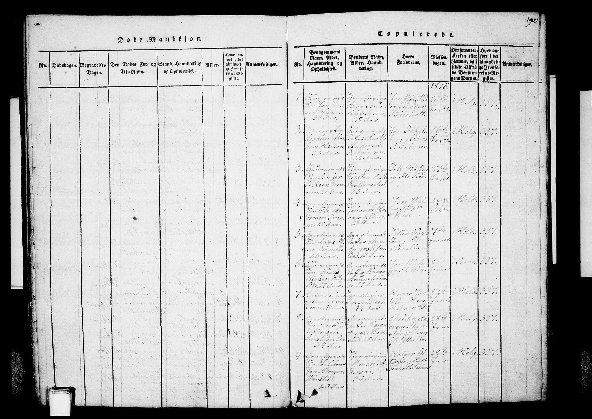 SAKO, Holla kirkebøker, G/Ga/L0001: Klokkerbok nr. I 1, 1814-1830, s. 192