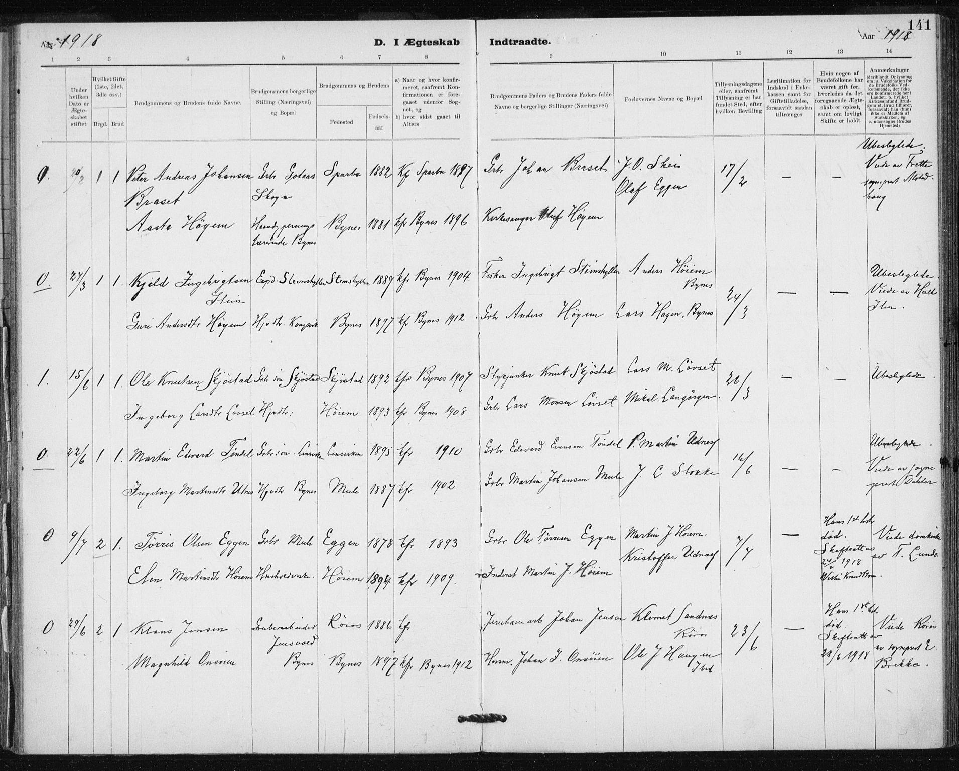 SAT, Ministerialprotokoller, klokkerbøker og fødselsregistre - Sør-Trøndelag, 612/L0381: Ministerialbok nr. 612A13, 1907-1923, s. 141