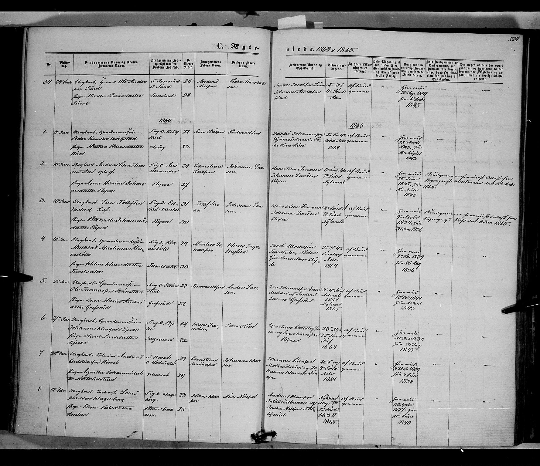 SAH, Vestre Toten prestekontor, H/Ha/Haa/L0007: Ministerialbok nr. 7, 1862-1869, s. 224