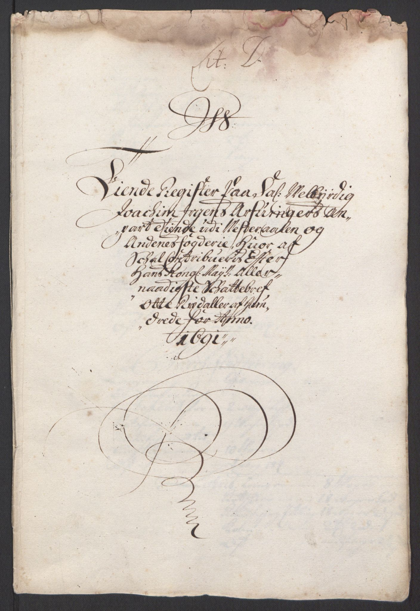 RA, Rentekammeret inntil 1814, Reviderte regnskaper, Fogderegnskap, R67/L4676: Fogderegnskap Vesterålen, Andenes og Lofoten, 1691-1693, s. 27
