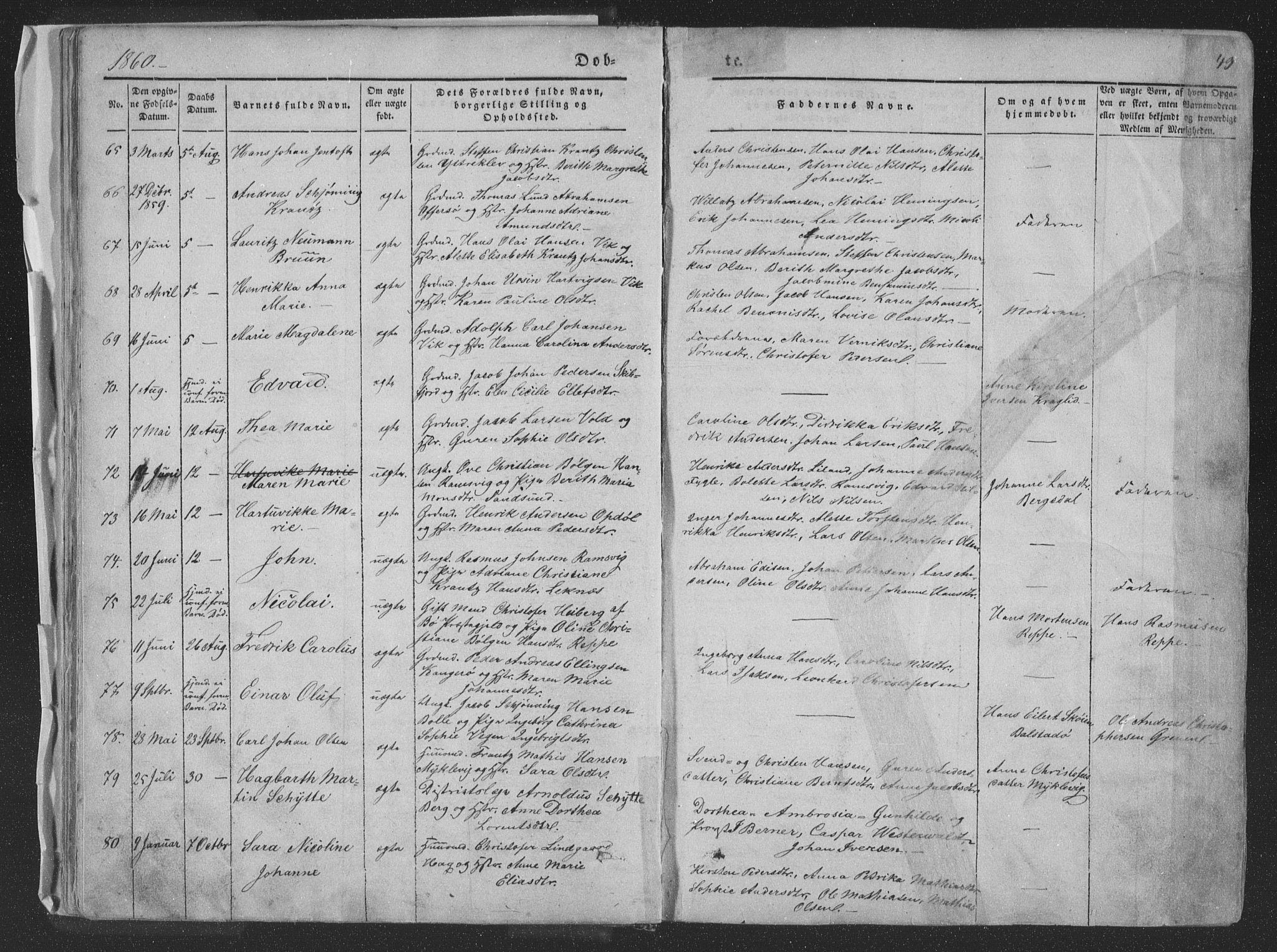 SAT, Ministerialprotokoller, klokkerbøker og fødselsregistre - Nordland, 881/L1165: Klokkerbok nr. 881C02, 1854-1876, s. 49