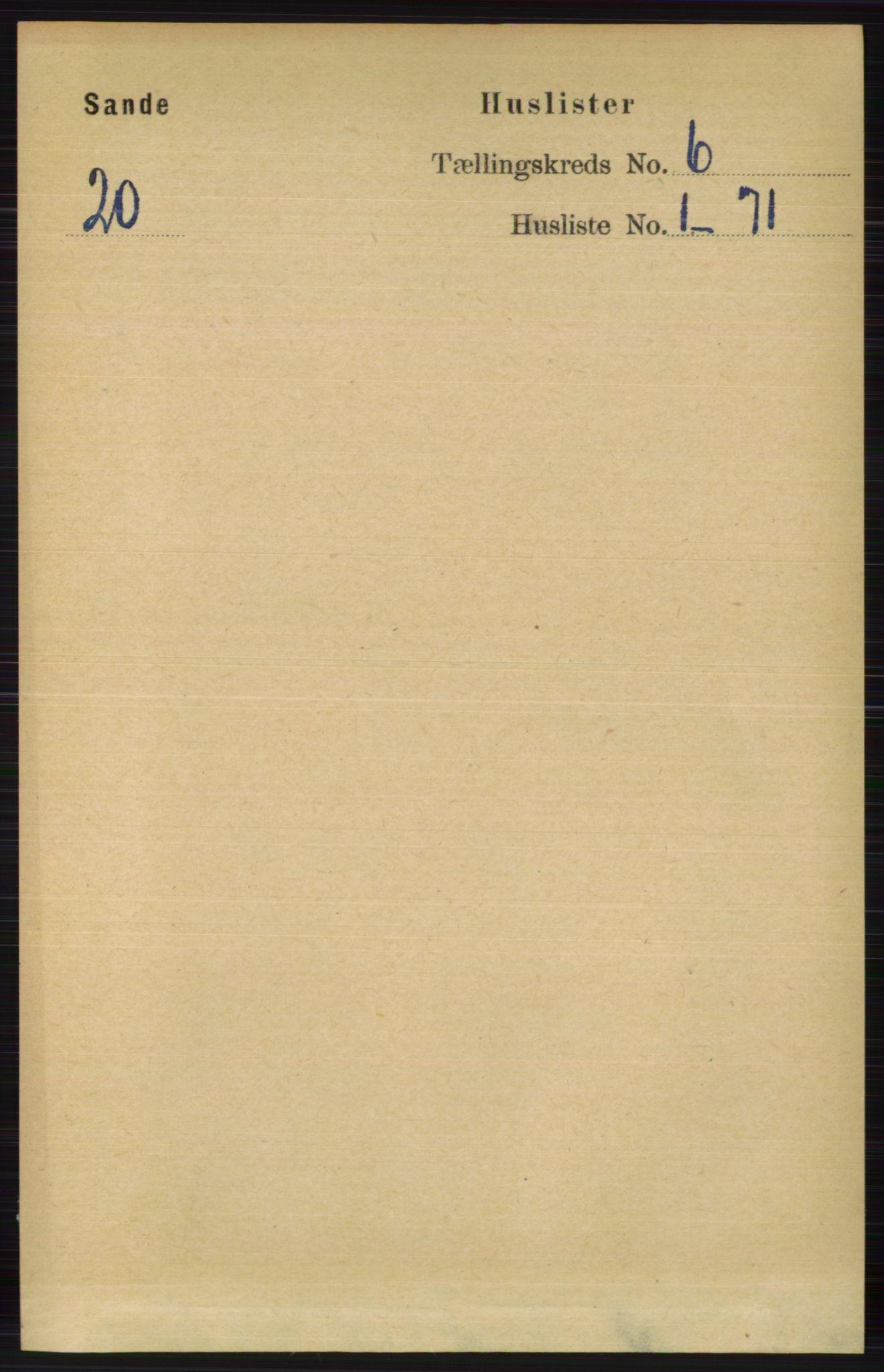 RA, Folketelling 1891 for 0713 Sande herred, 1891, s. 2609