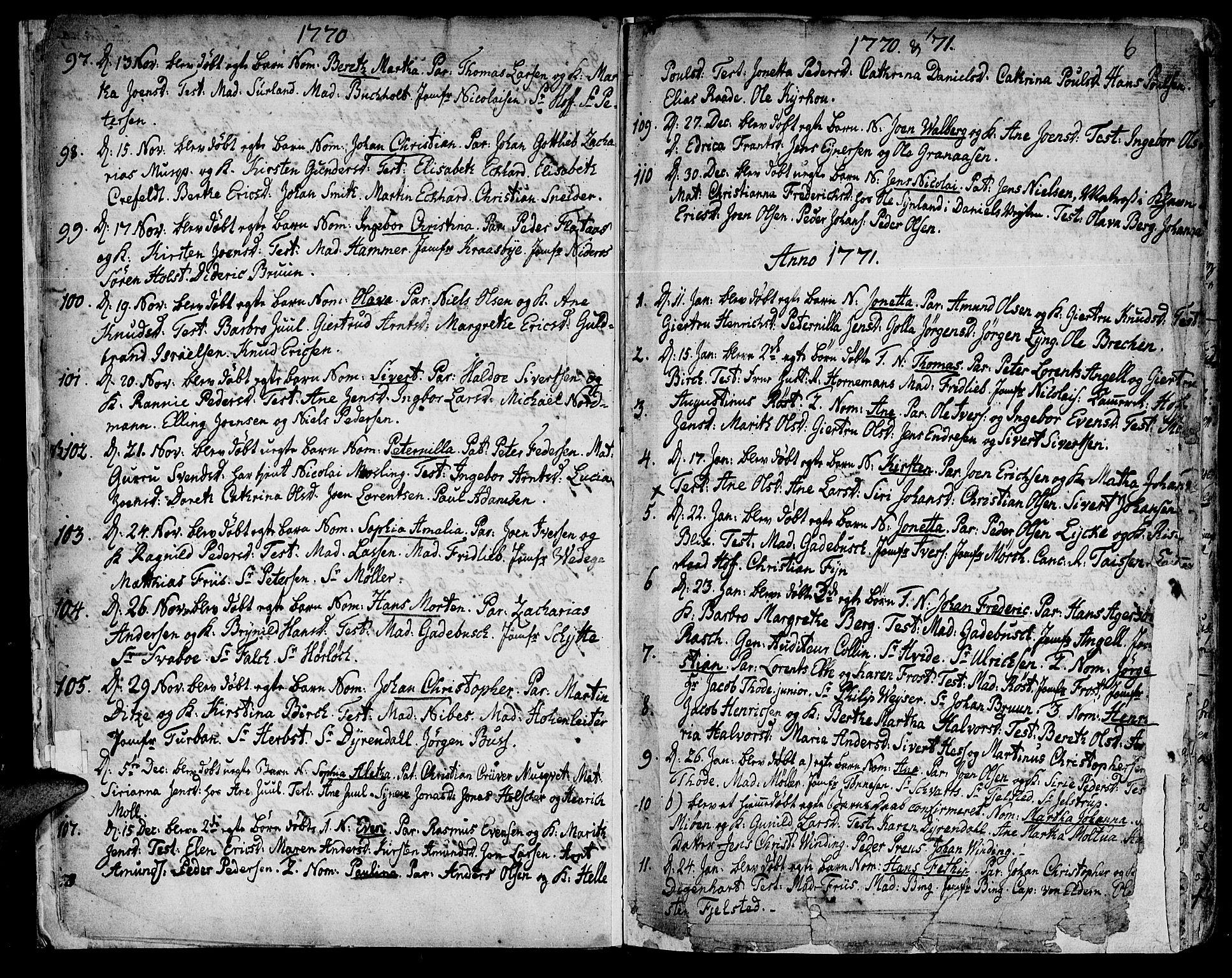 SAT, Ministerialprotokoller, klokkerbøker og fødselsregistre - Sør-Trøndelag, 601/L0039: Ministerialbok nr. 601A07, 1770-1819, s. 6