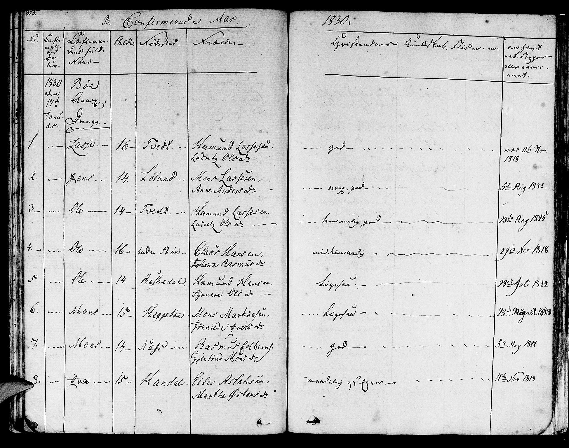 SAB, Lavik sokneprestembete, Ministerialbok nr. A 2I, 1821-1842, s. 313
