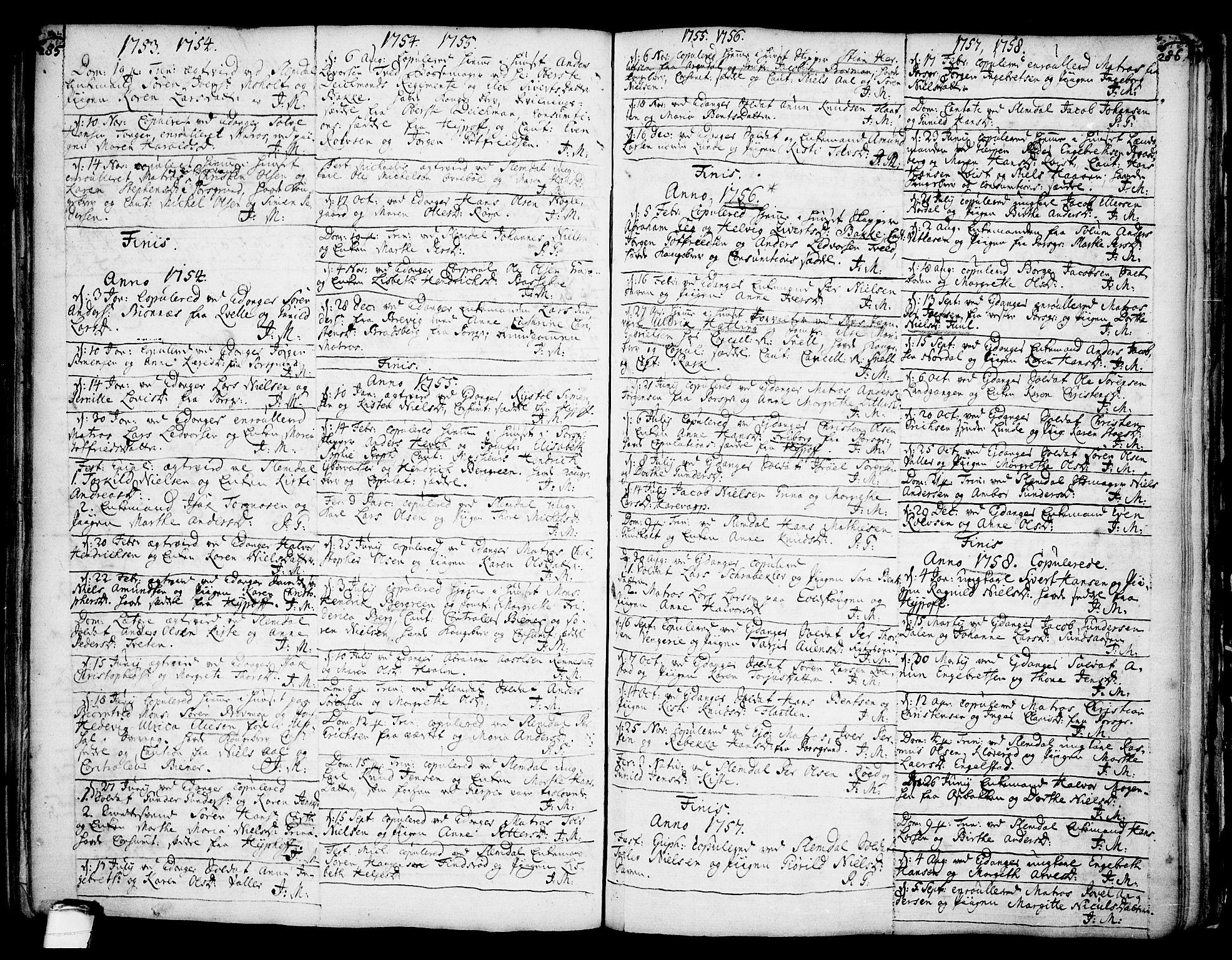SAKO, Eidanger kirkebøker, F/Fa/L0004: Ministerialbok nr. 4, 1733-1759, s. 285-286