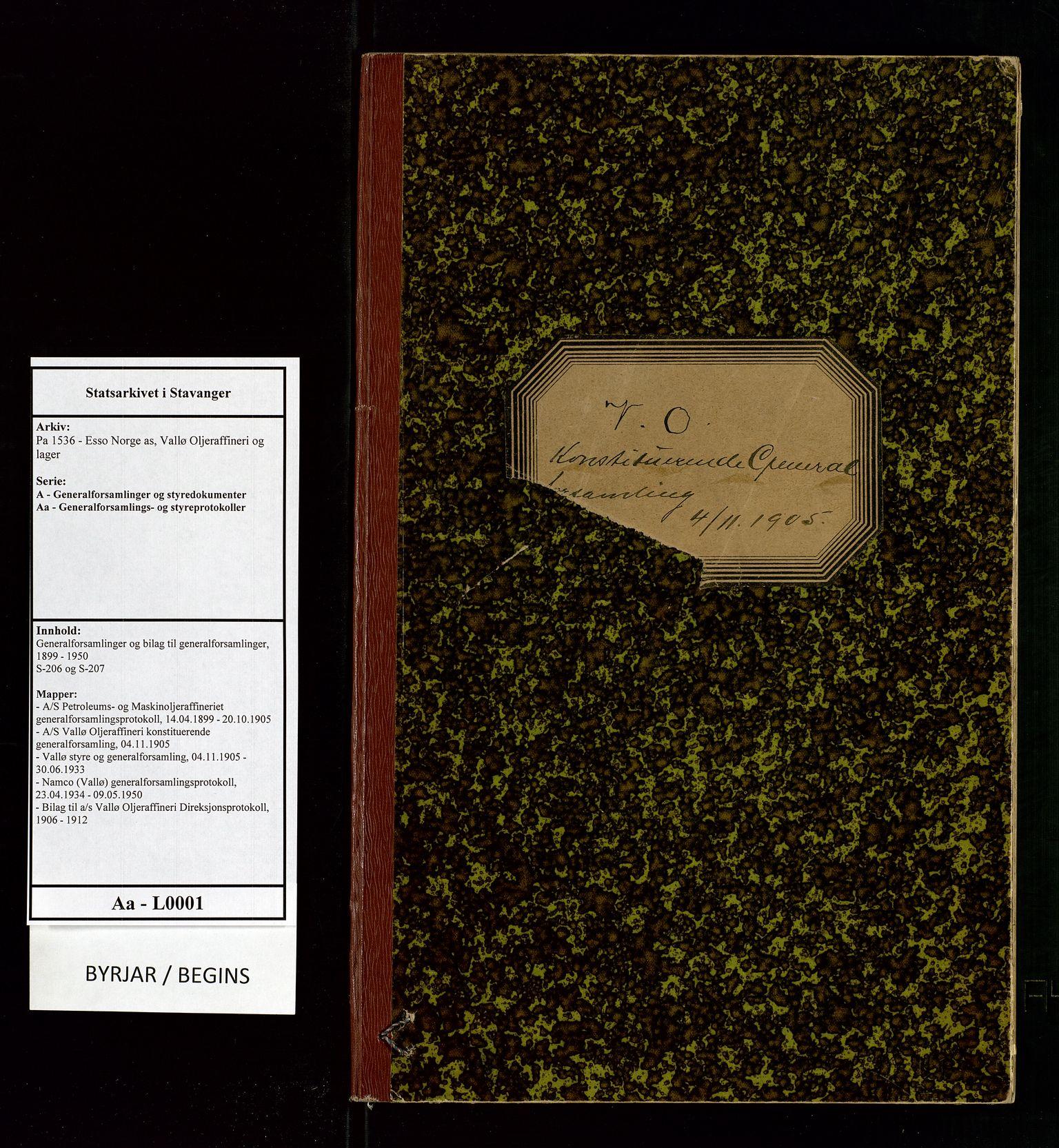 SAST, Pa 1536 - Esso Norge as, Vallø Oljeraffineri og lager, A/Aa/L0001: Generalforsamlinger og bilag til generalforsamlinger, 1905, s. upaginert