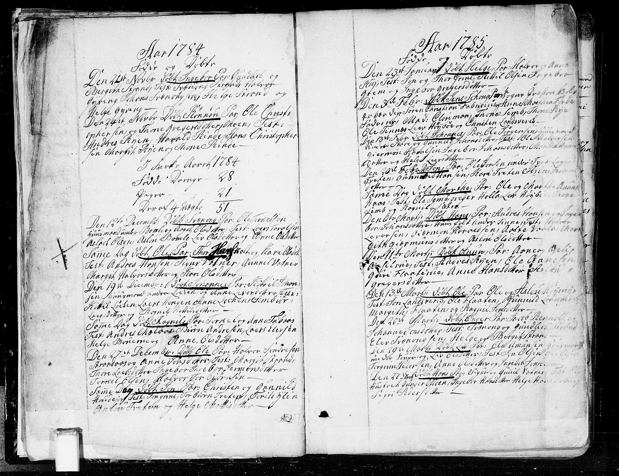 SAKO, Heddal kirkebøker, F/Fa/L0004: Ministerialbok nr. I 4, 1784-1814, s. 5