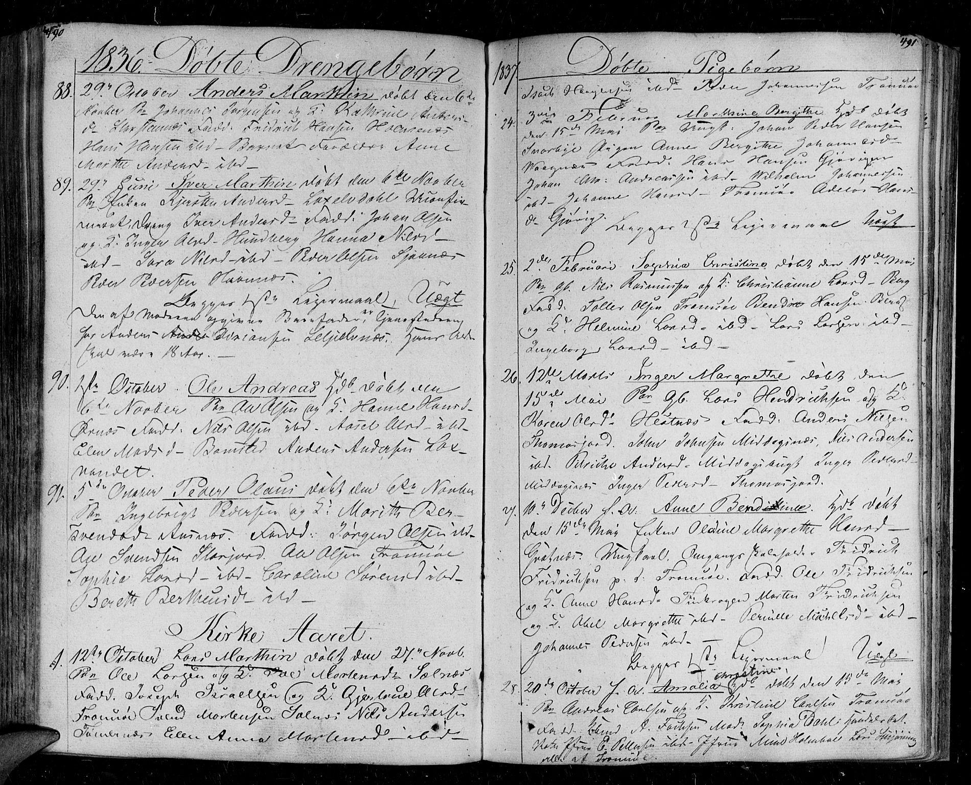 SATØ, Tromsø sokneprestkontor/stiftsprosti/domprosti, G/Ga/L0008kirke: Ministerialbok nr. 8, 1829-1837, s. 490-491