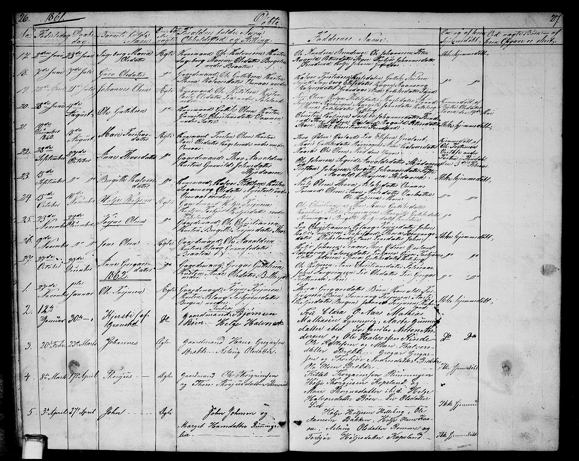 SAKO, Gransherad kirkebøker, G/Ga/L0002: Klokkerbok nr. I 2, 1854-1886, s. 26-27