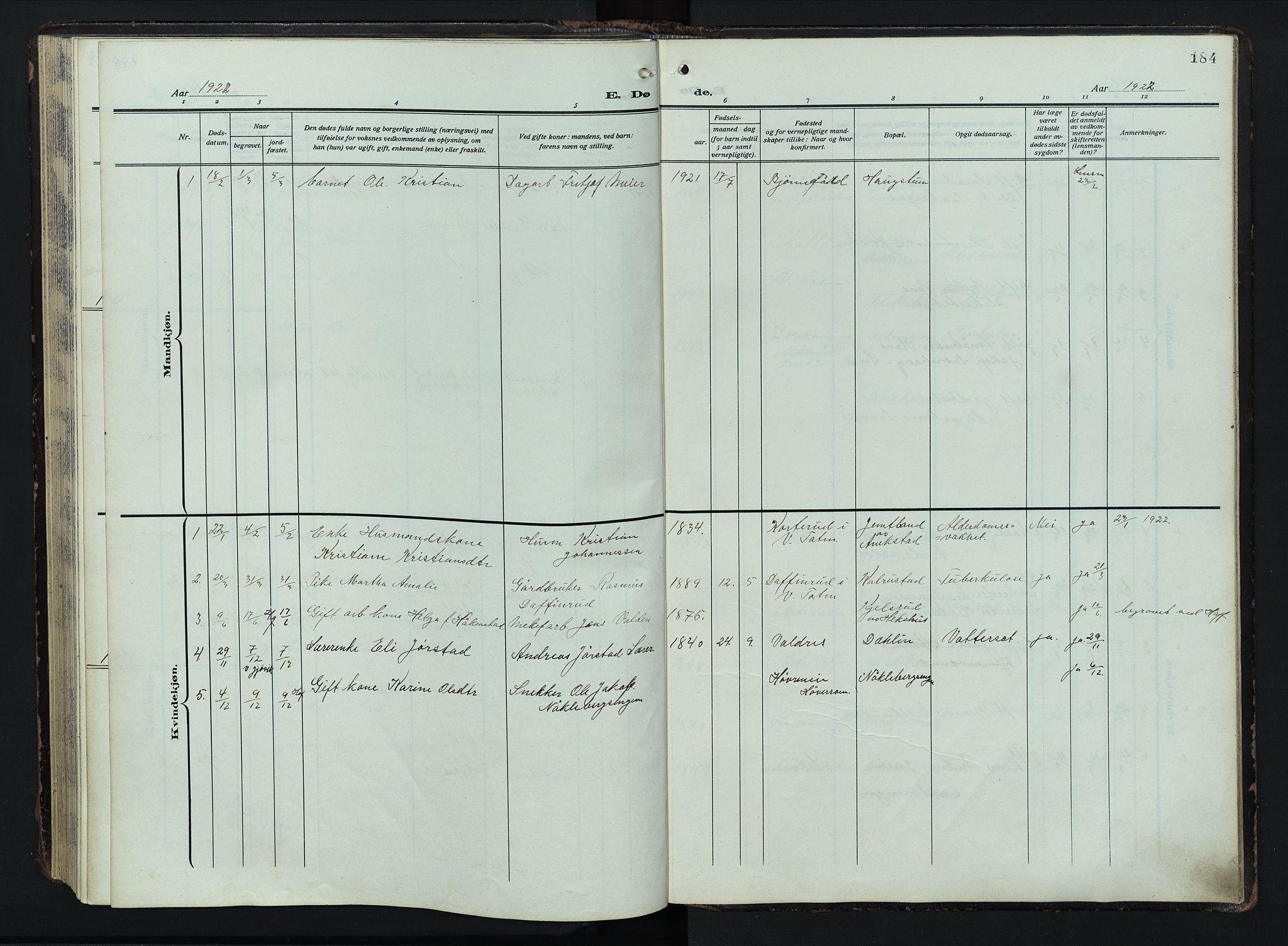 SAH, Østre Toten prestekontor, Klokkerbok nr. 9, 1908-1956, s. 184