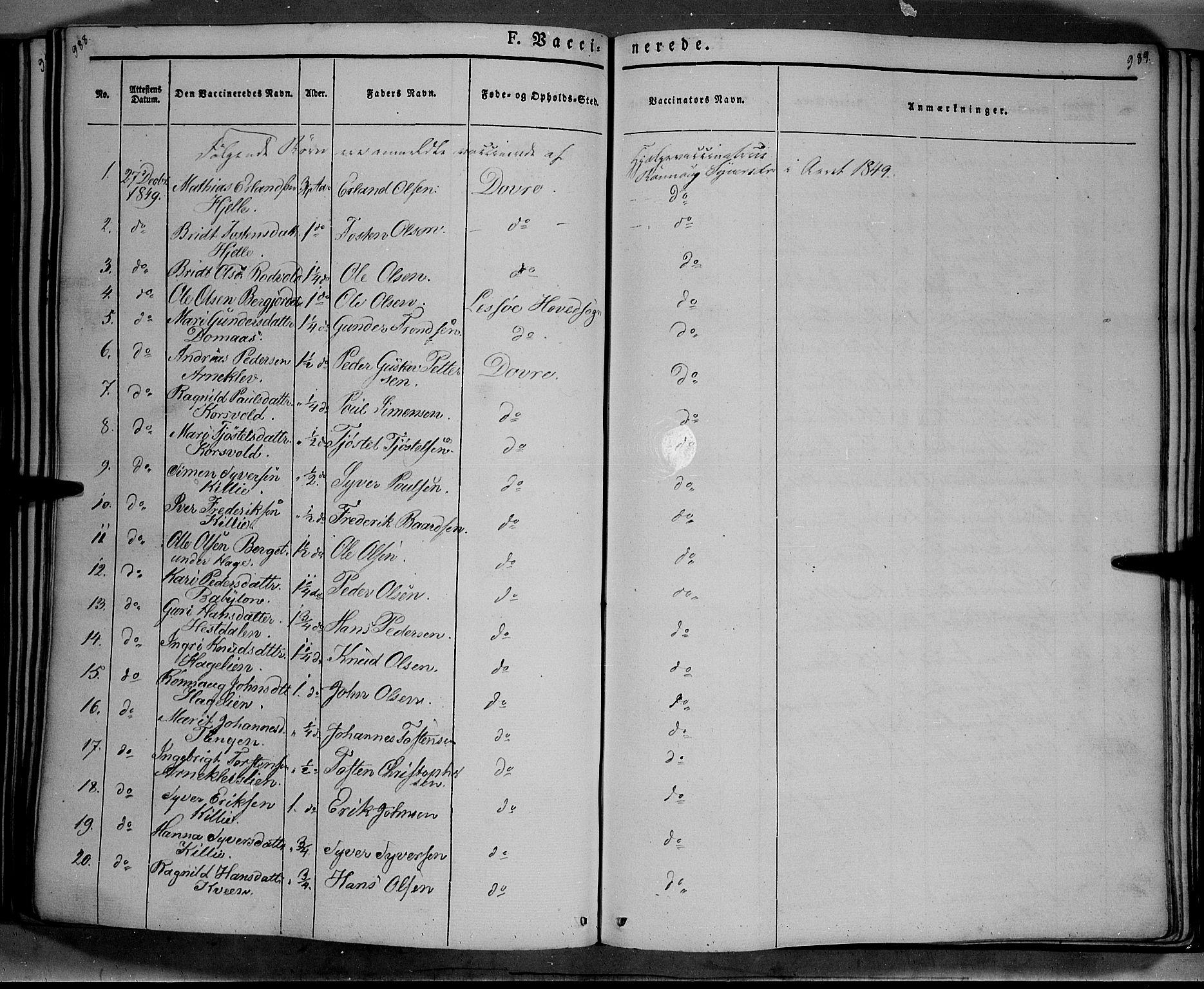 SAH, Lesja prestekontor, Ministerialbok nr. 6B, 1843-1854, s. 988-989