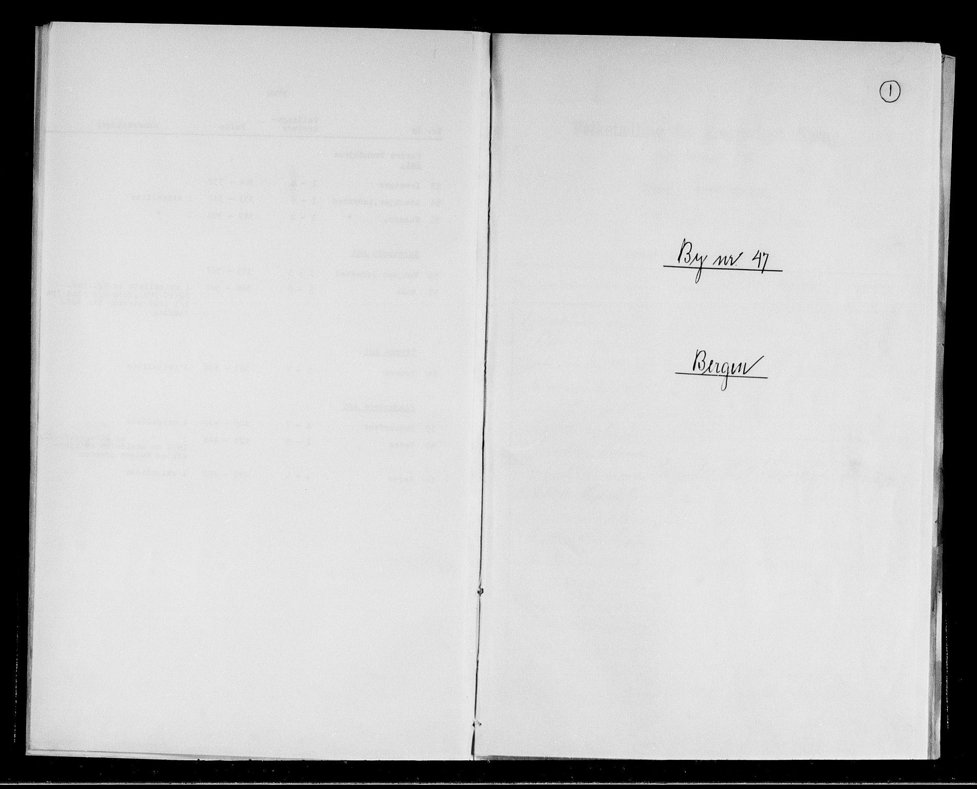 RA, Folketelling 1891 for 1301 Bergen kjøpstad, 1891, s. 1