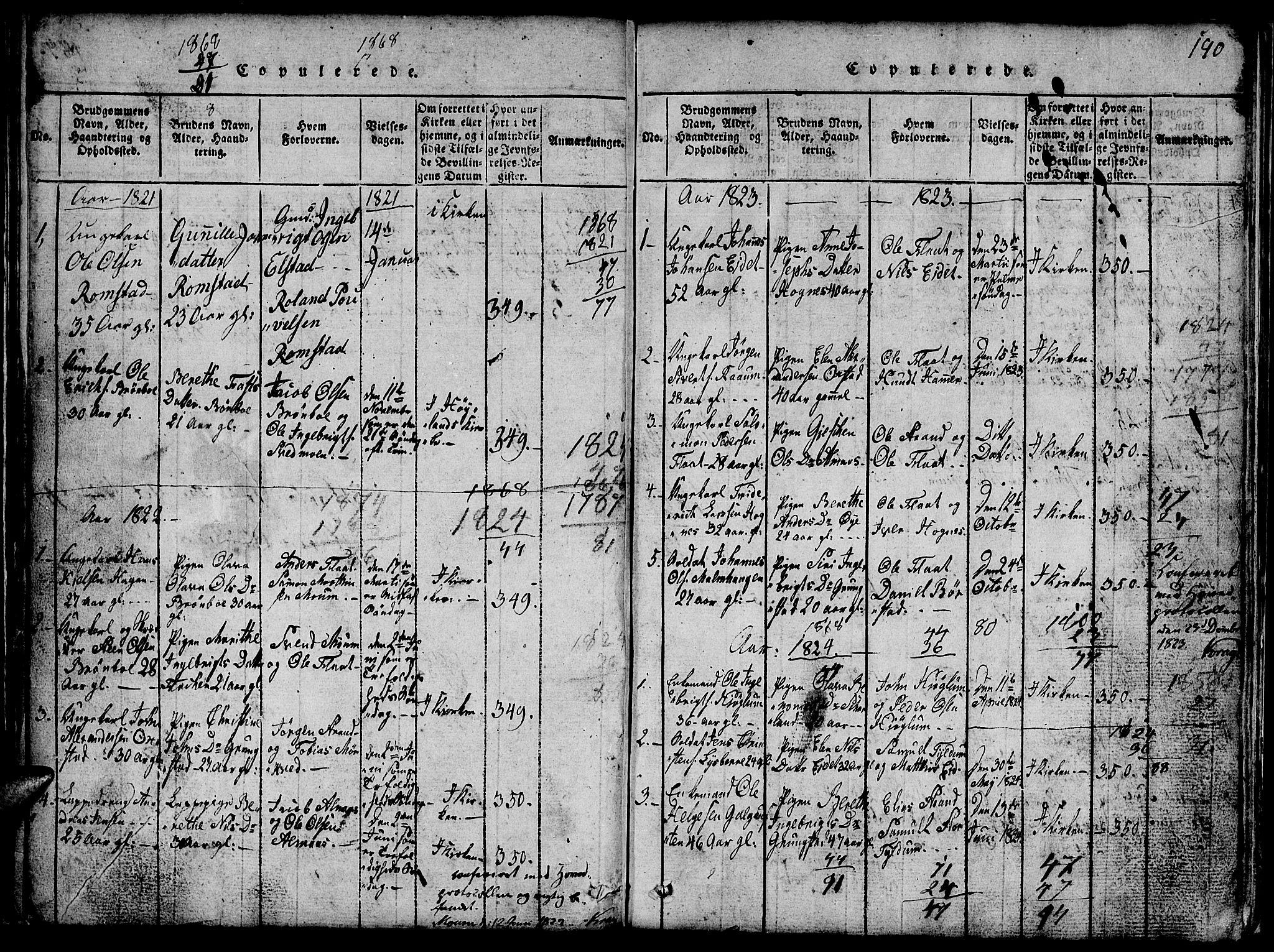 SAT, Ministerialprotokoller, klokkerbøker og fødselsregistre - Nord-Trøndelag, 765/L0562: Klokkerbok nr. 765C01, 1817-1851, s. 190
