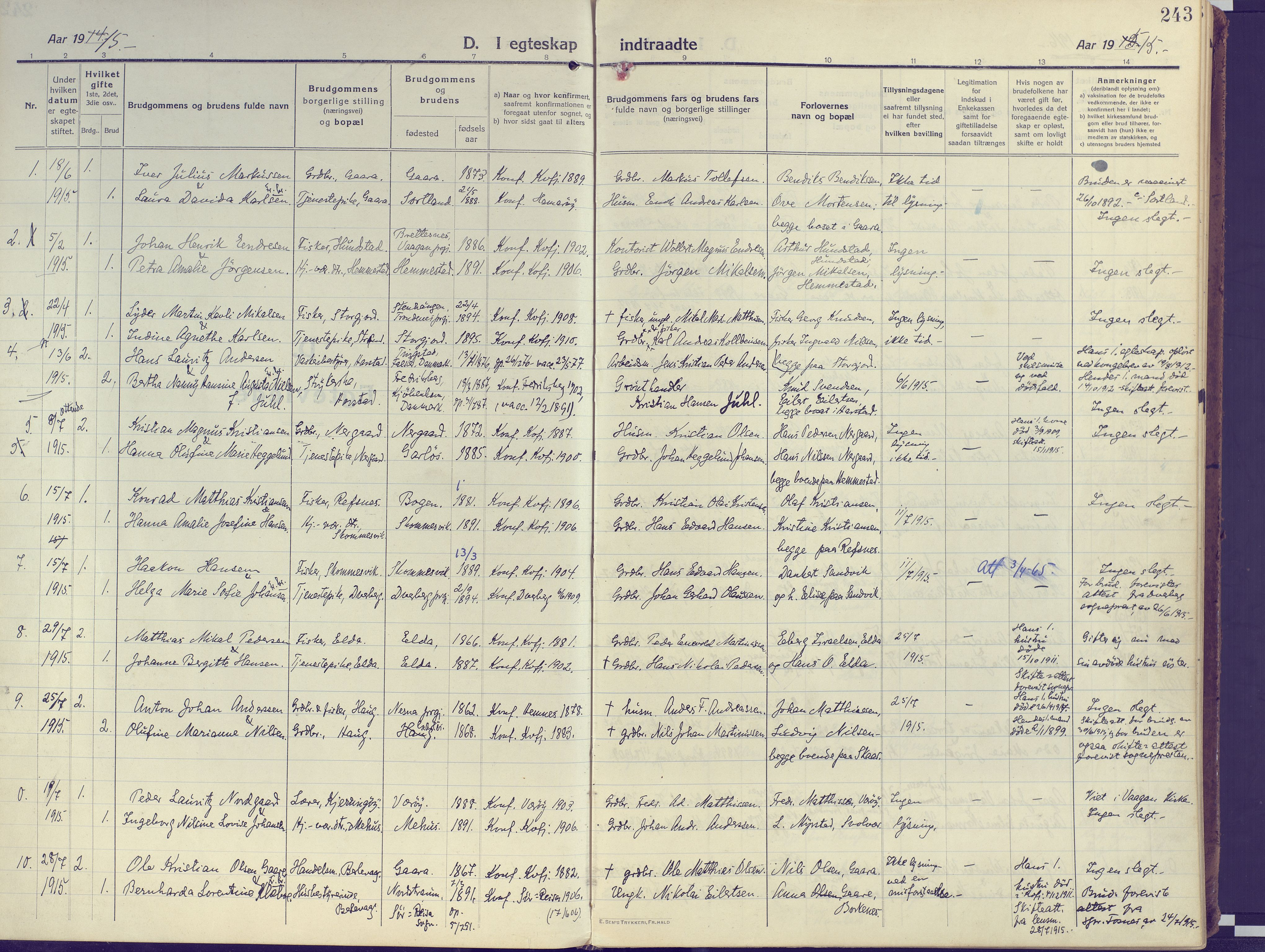 SATØ, Kvæfjord sokneprestkontor, G/Ga/Gaa/L0007kirke: Ministerialbok nr. 7, 1915-1931, s. 243