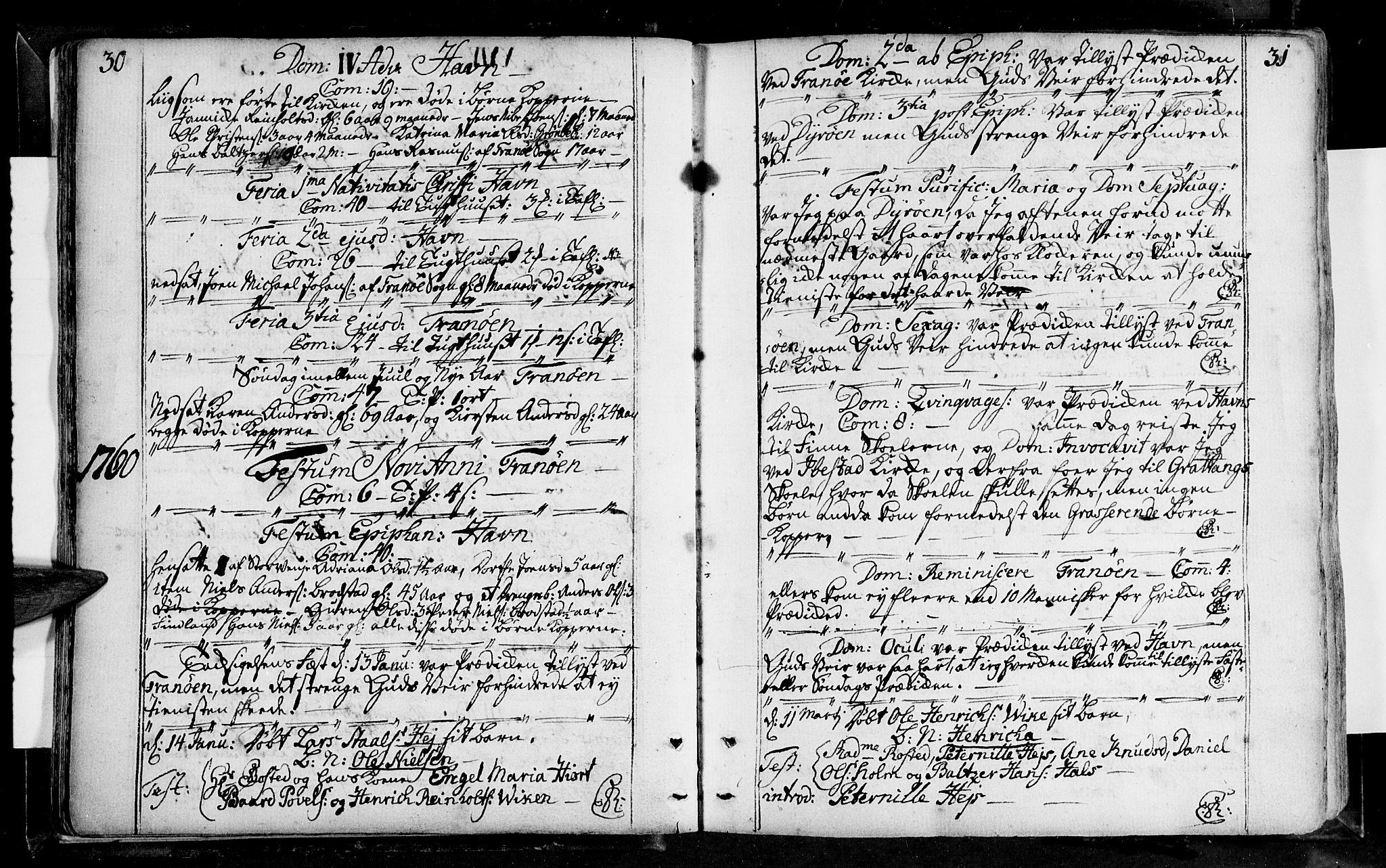 SATØ, Tranøy sokneprestkontor, I/Ia/Iaa/L0001kirke: Ministerialbok nr. 1, 1757-1773, s. 30-31