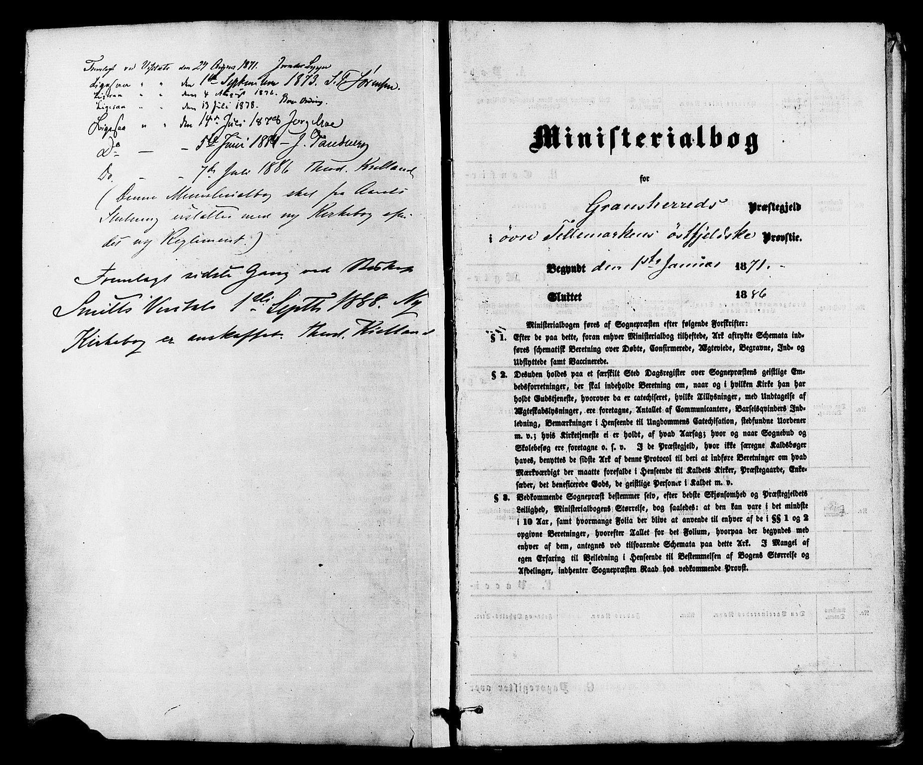 SAKO, Gransherad kirkebøker, F/Fa/L0004: Ministerialbok nr. I 4, 1871-1886