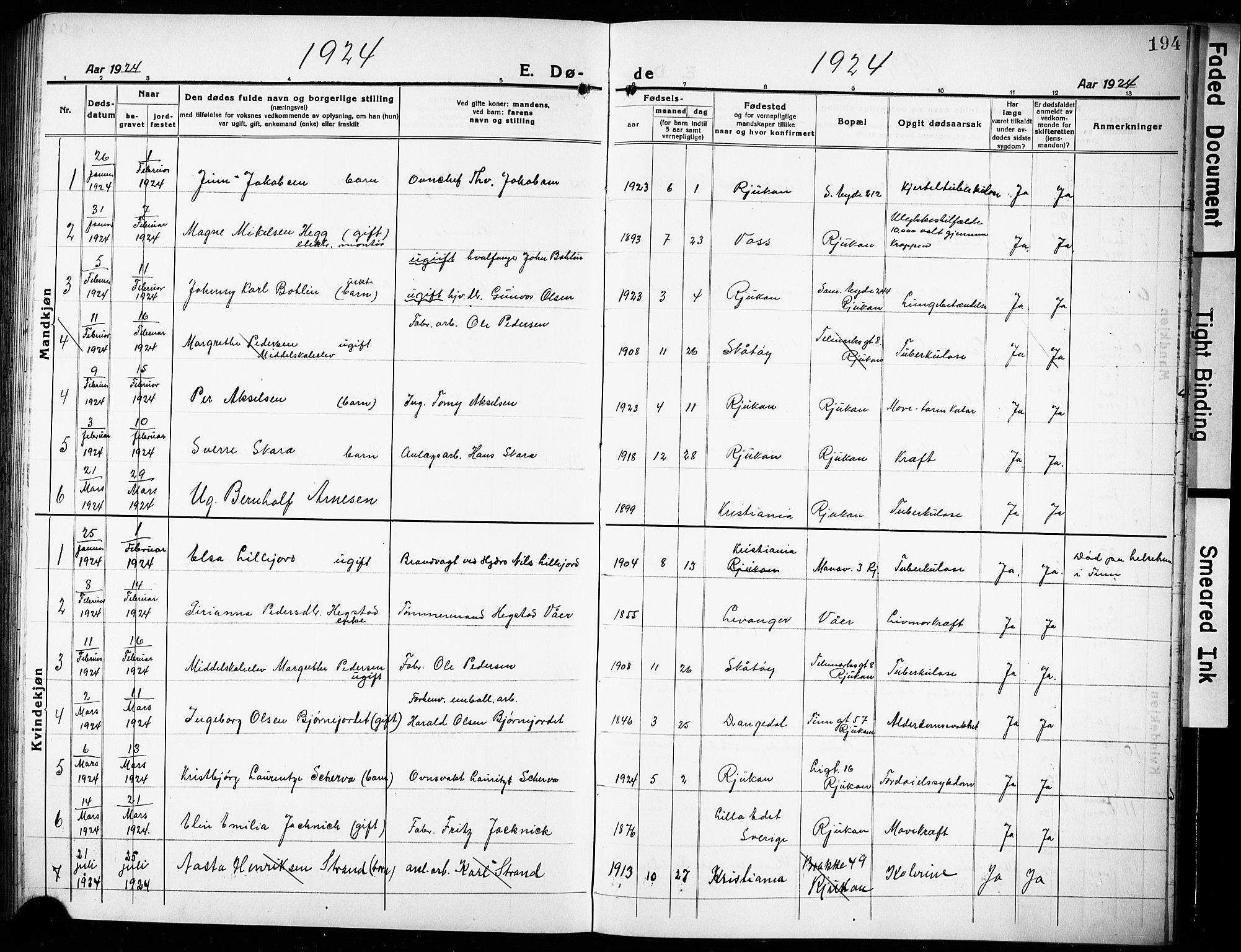 SAKO, Rjukan kirkebøker, G/Ga/L0003: Klokkerbok nr. 3, 1920-1928, s. 194