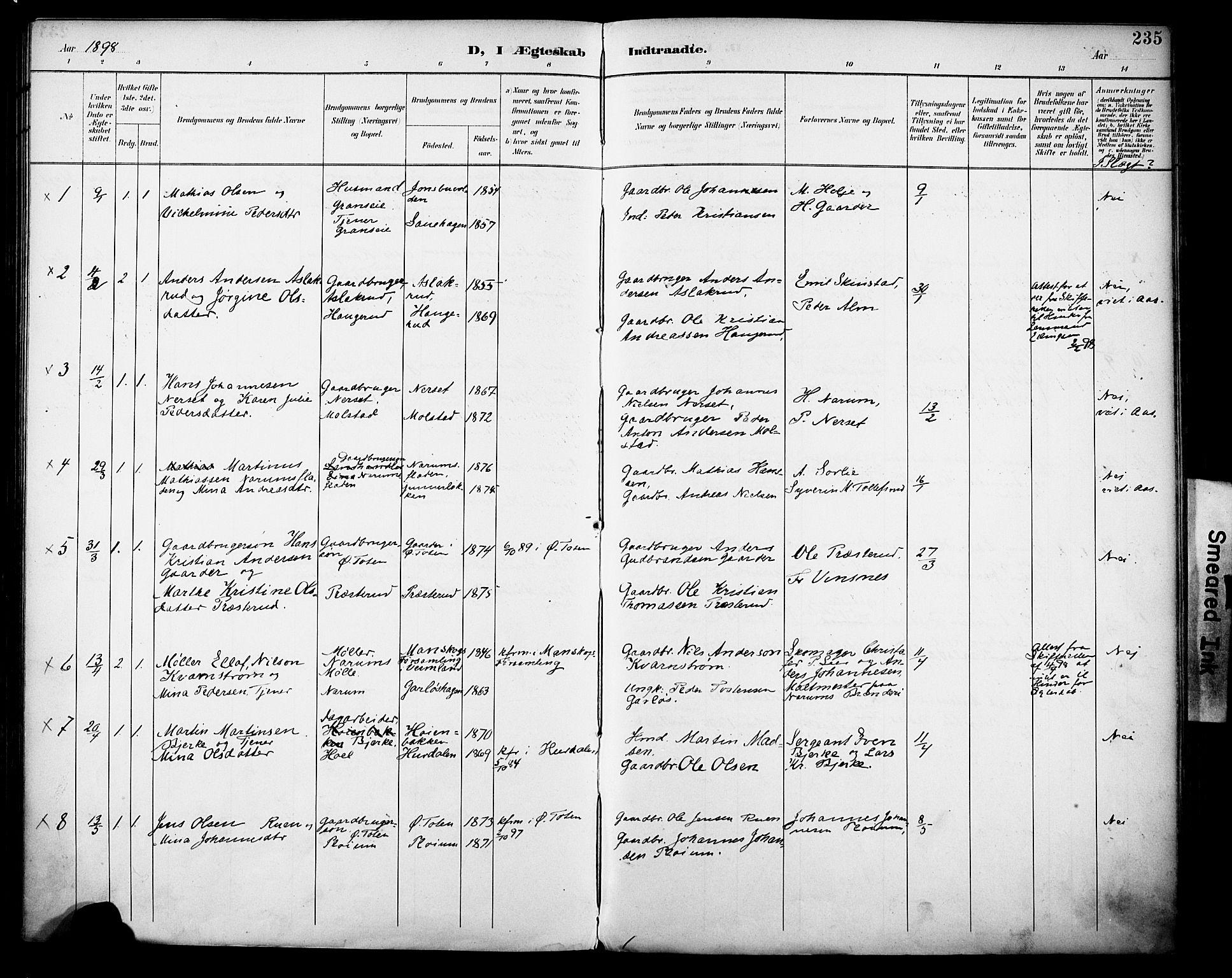 SAH, Vestre Toten prestekontor, H/Ha/Haa/L0013: Ministerialbok nr. 13, 1895-1911, s. 235