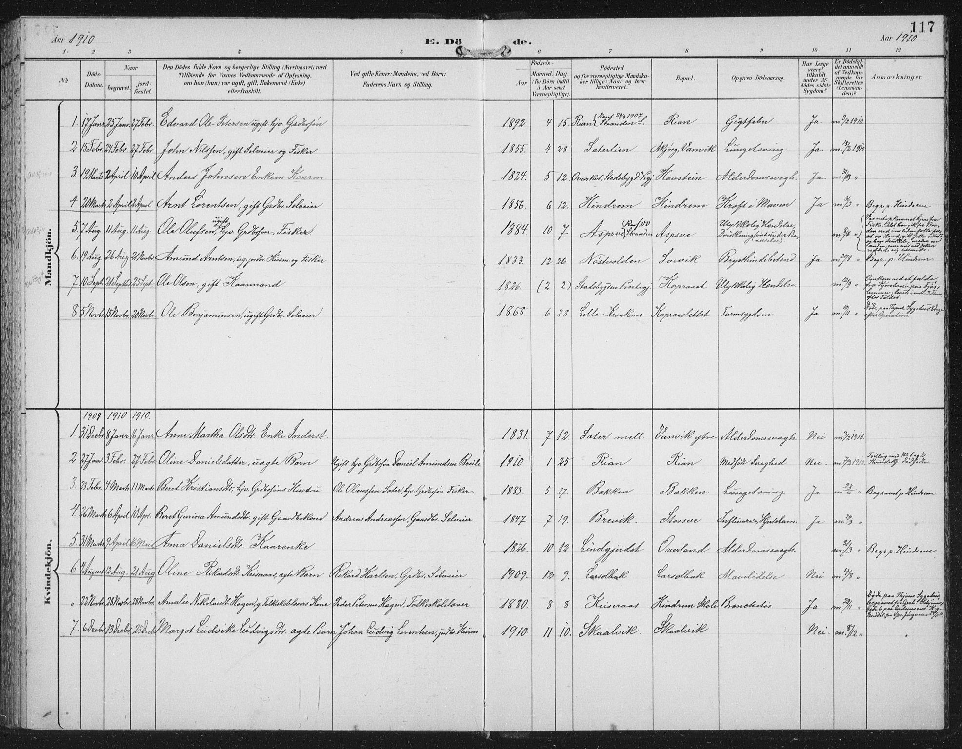 SAT, Ministerialprotokoller, klokkerbøker og fødselsregistre - Nord-Trøndelag, 702/L0024: Ministerialbok nr. 702A02, 1898-1914, s. 117