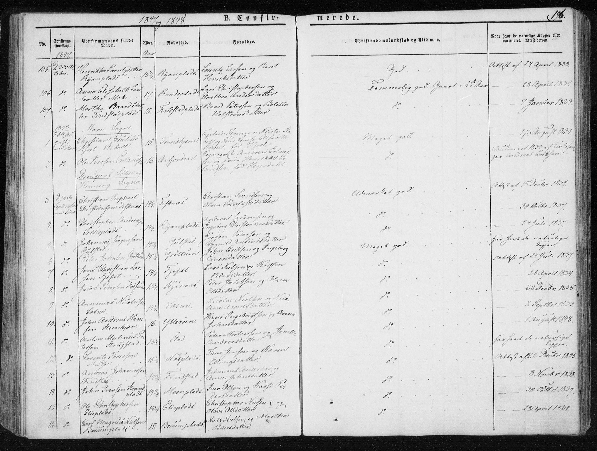 SAT, Ministerialprotokoller, klokkerbøker og fødselsregistre - Nord-Trøndelag, 735/L0339: Ministerialbok nr. 735A06 /1, 1836-1848, s. 196