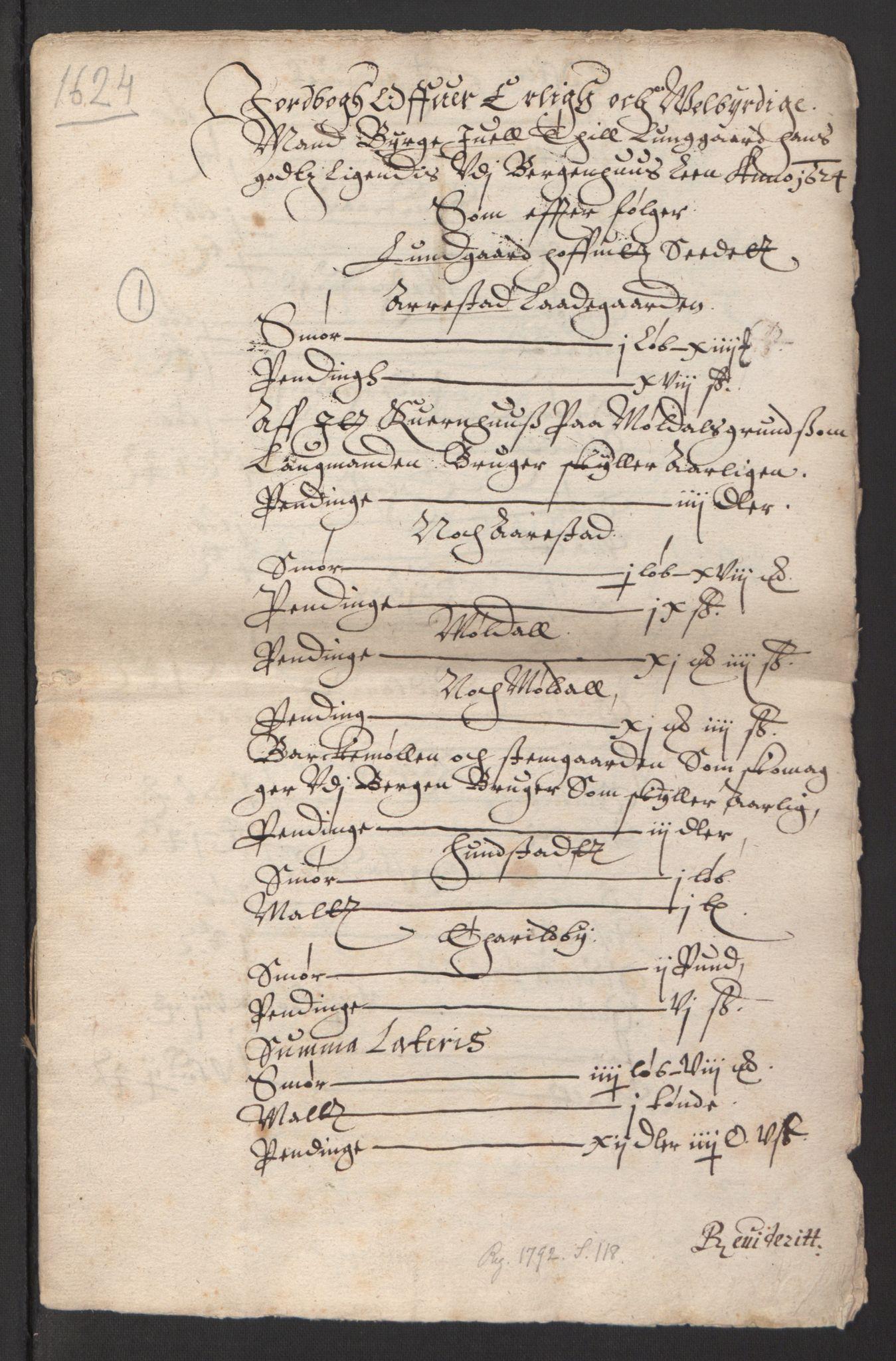 RA, Stattholderembetet 1572-1771, Ek/L0007: Jordebøker til utlikning av rosstjeneste 1624-1626:, 1624-1625, s. 447