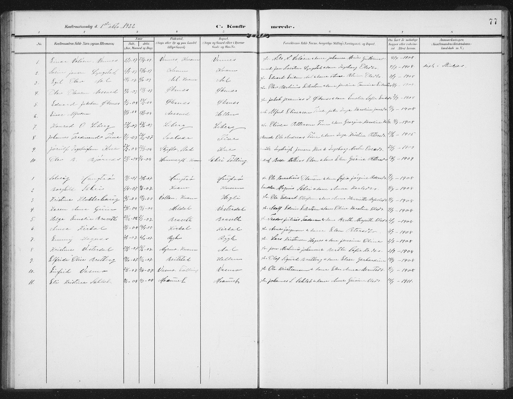 SAT, Ministerialprotokoller, klokkerbøker og fødselsregistre - Nord-Trøndelag, 747/L0460: Klokkerbok nr. 747C02, 1908-1939, s. 77
