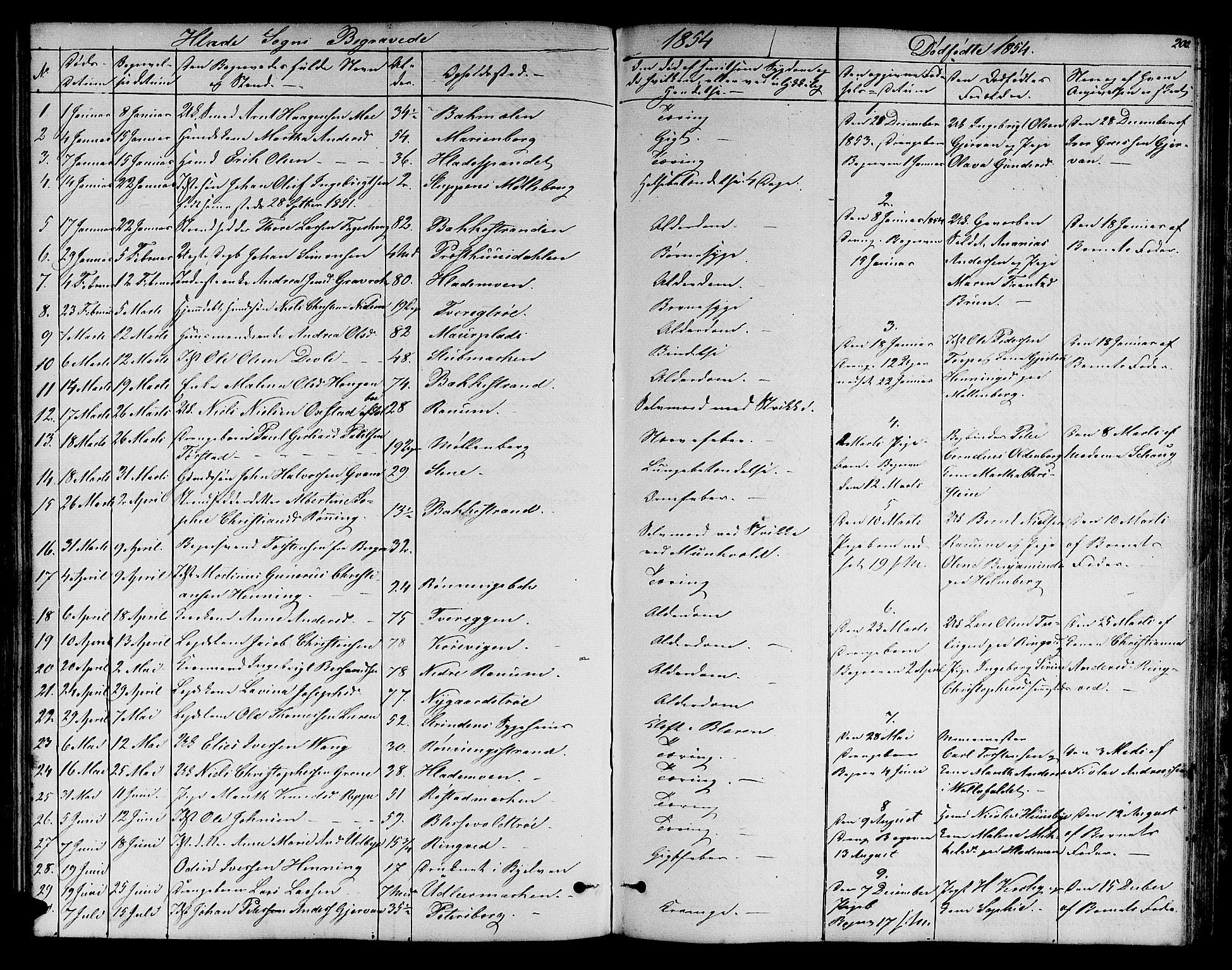 SAT, Ministerialprotokoller, klokkerbøker og fødselsregistre - Sør-Trøndelag, 606/L0310: Klokkerbok nr. 606C06, 1850-1859, s. 200