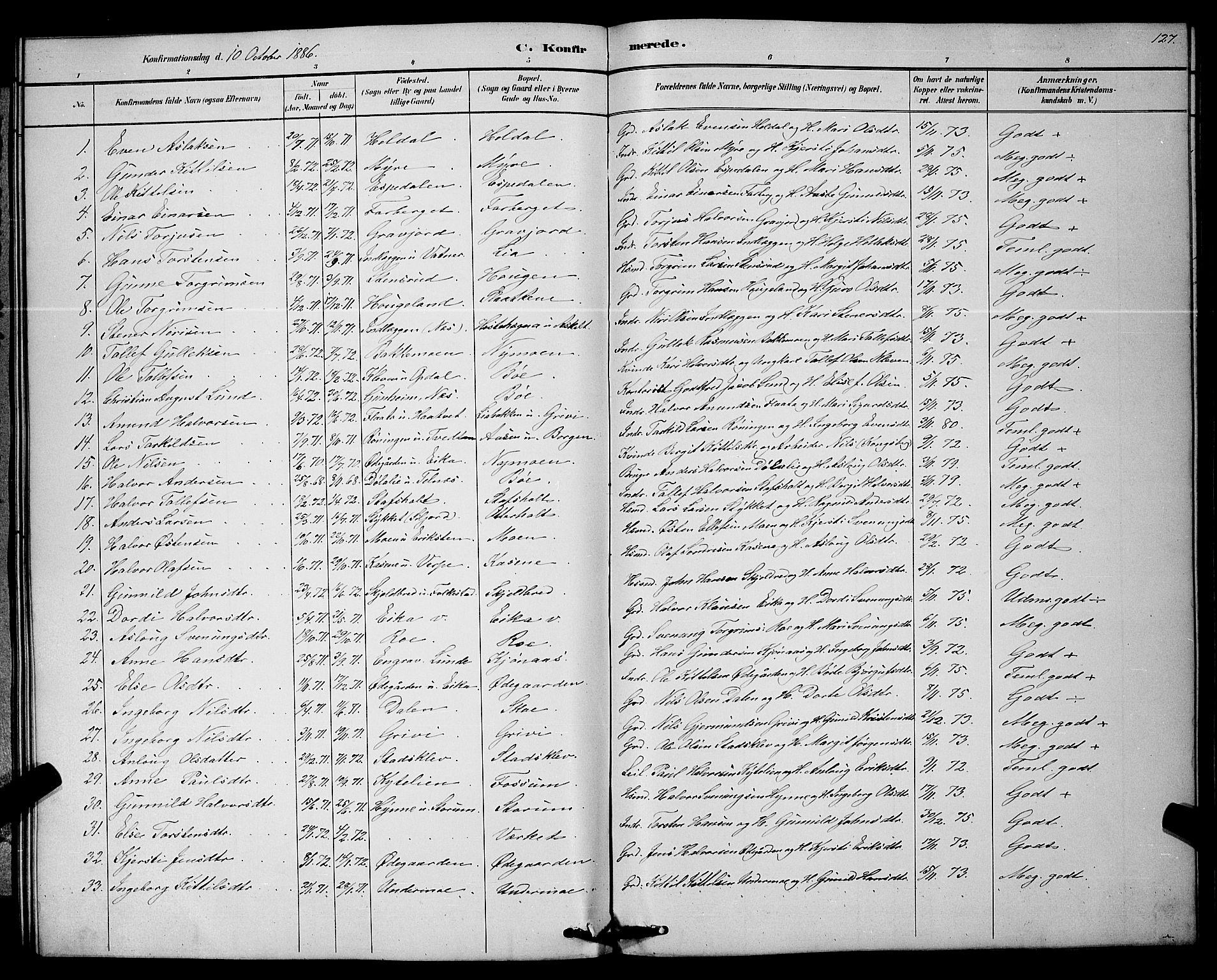 SAKO, Bø kirkebøker, G/Ga/L0005: Klokkerbok nr. 5, 1883-1897, s. 127