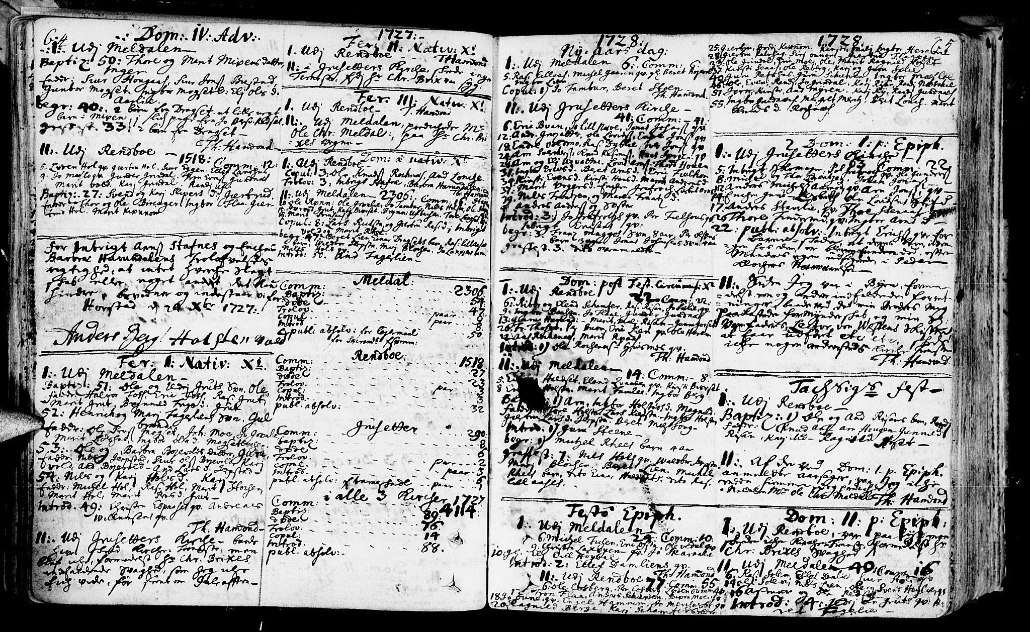 SAT, Ministerialprotokoller, klokkerbøker og fødselsregistre - Sør-Trøndelag, 672/L0850: Ministerialbok nr. 672A03, 1725-1751, s. 64-65