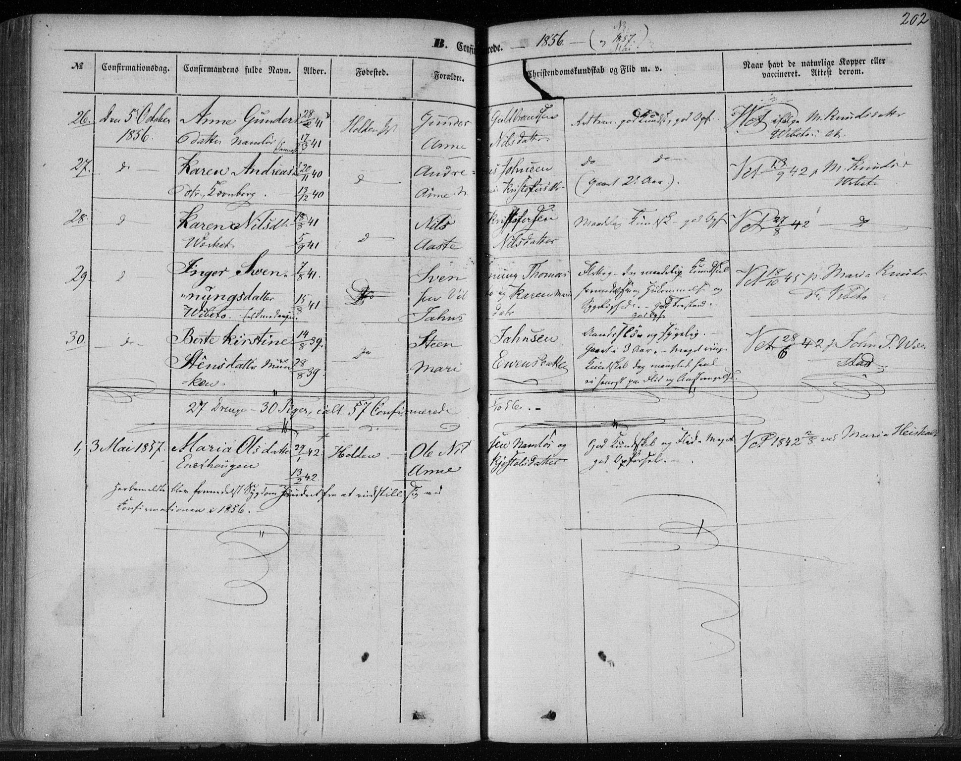 SAKO, Holla kirkebøker, F/Fa/L0005: Ministerialbok nr. 5, 1849-1860, s. 202