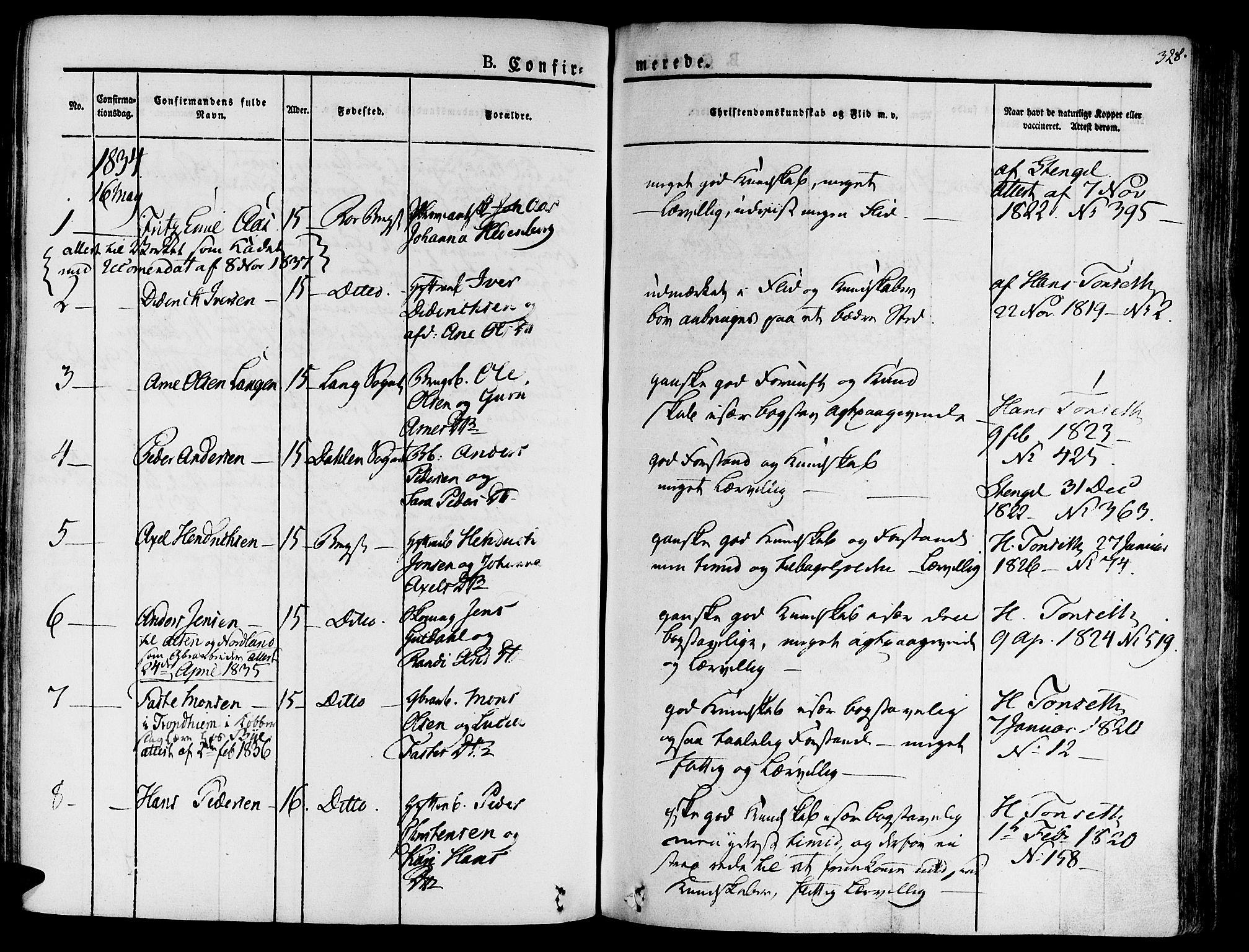 SAT, Ministerialprotokoller, klokkerbøker og fødselsregistre - Sør-Trøndelag, 681/L0930: Ministerialbok nr. 681A08, 1829-1844, s. 328