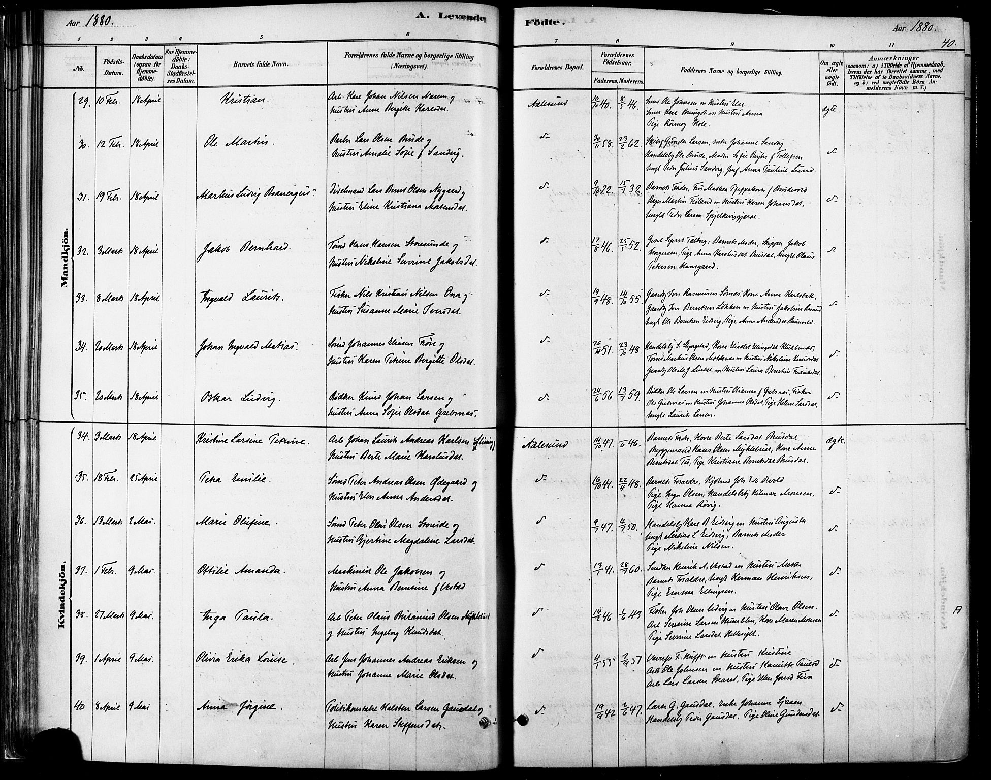 SAT, Ministerialprotokoller, klokkerbøker og fødselsregistre - Møre og Romsdal, 529/L0454: Ministerialbok nr. 529A04, 1878-1885, s. 40