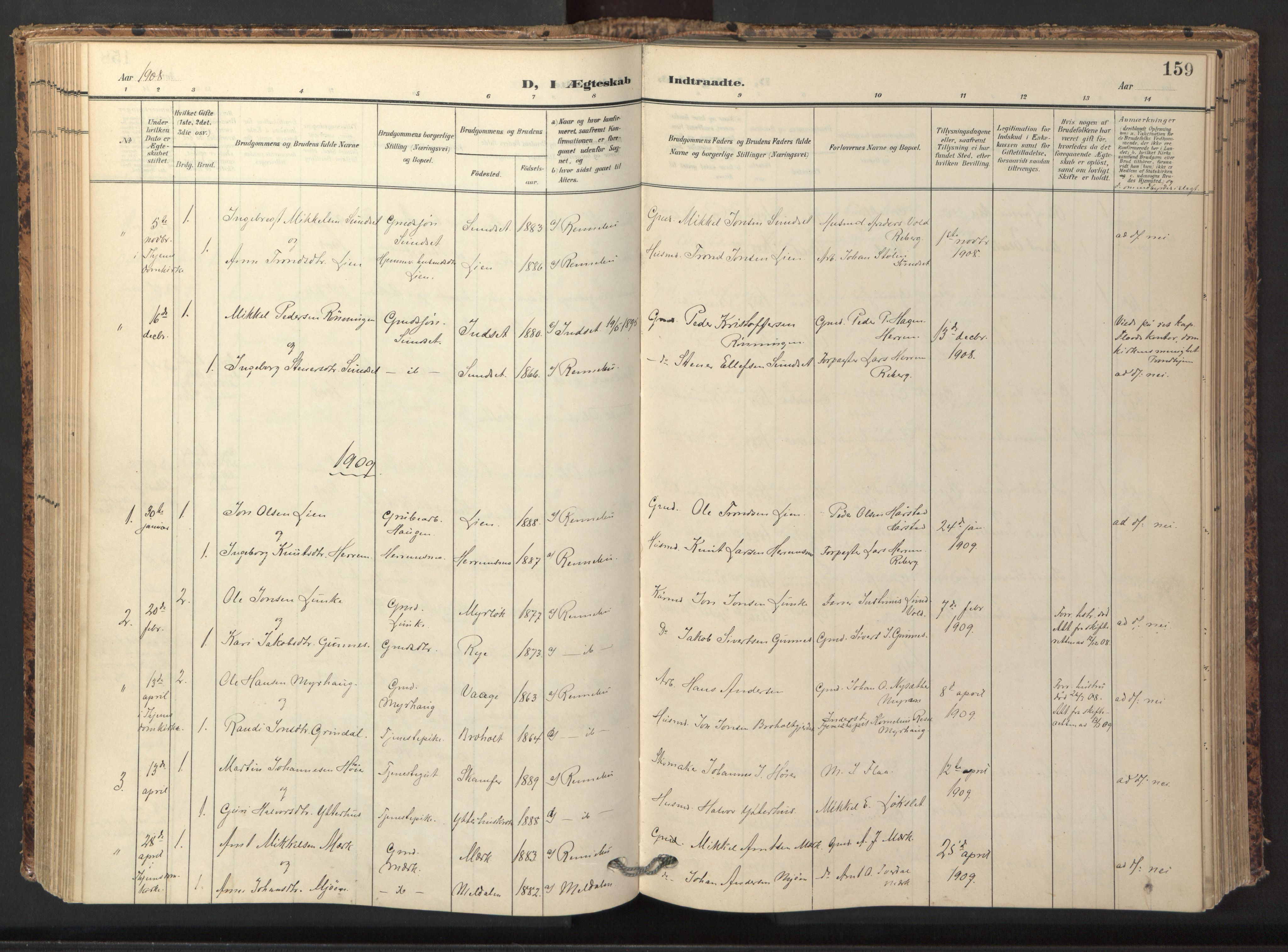 SAT, Ministerialprotokoller, klokkerbøker og fødselsregistre - Sør-Trøndelag, 674/L0873: Ministerialbok nr. 674A05, 1908-1923, s. 159