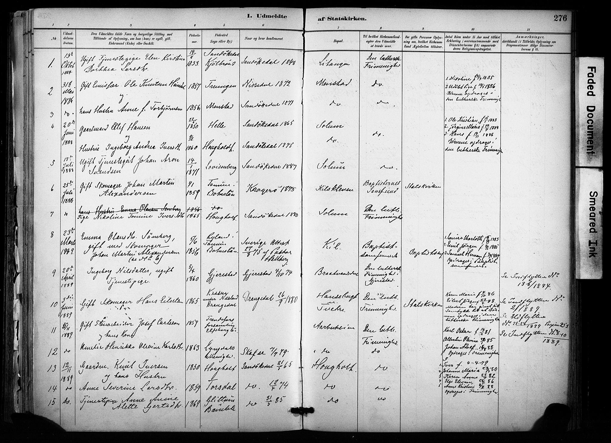 SAKO, Sannidal kirkebøker, F/Fa/L0015: Ministerialbok nr. 15, 1884-1899, s. 276