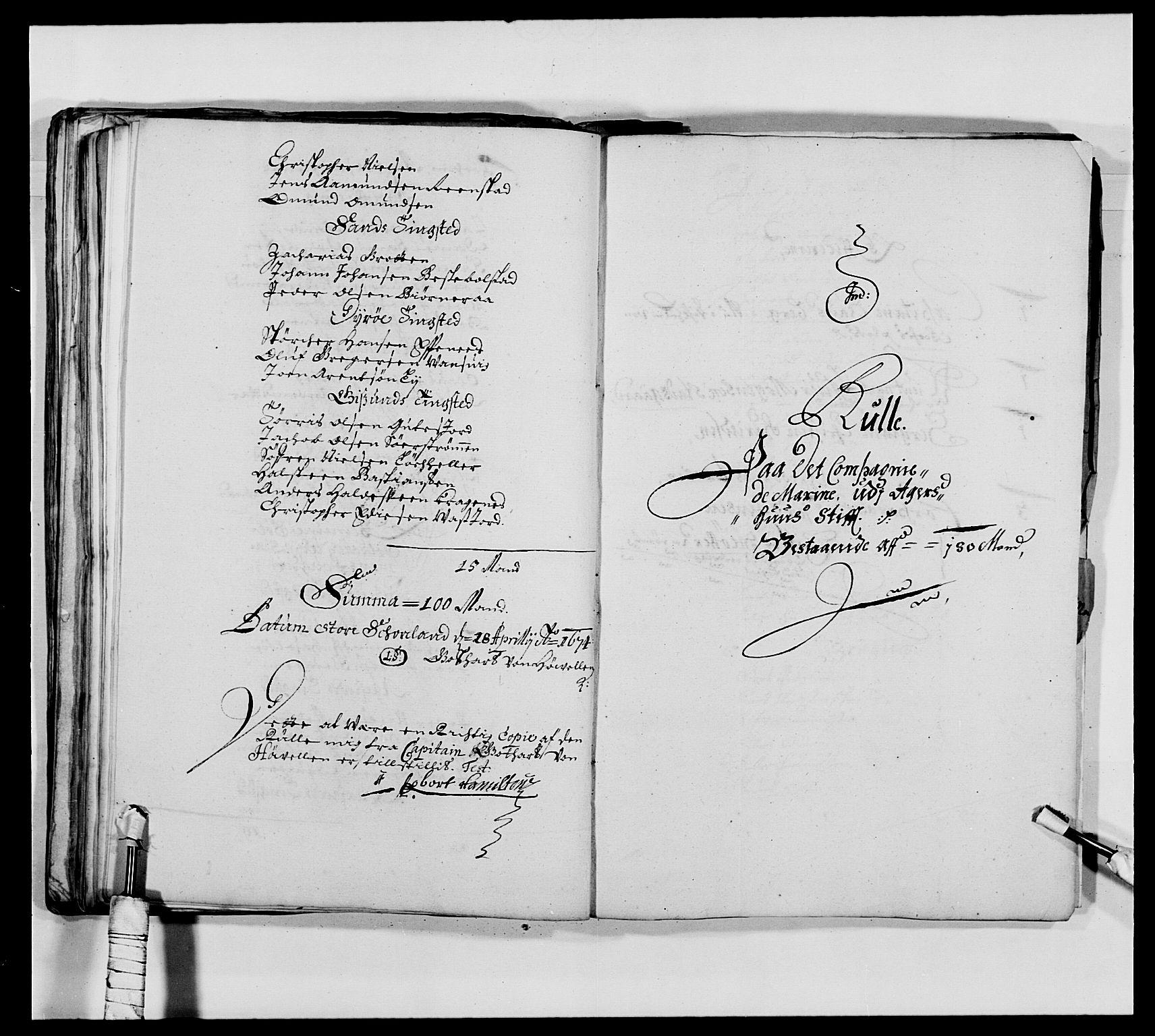 RA, Kommanderende general (KG I) med Det norske krigsdirektorium, E/Ea/L0473: Marineregimentet, 1664-1700, s. 107
