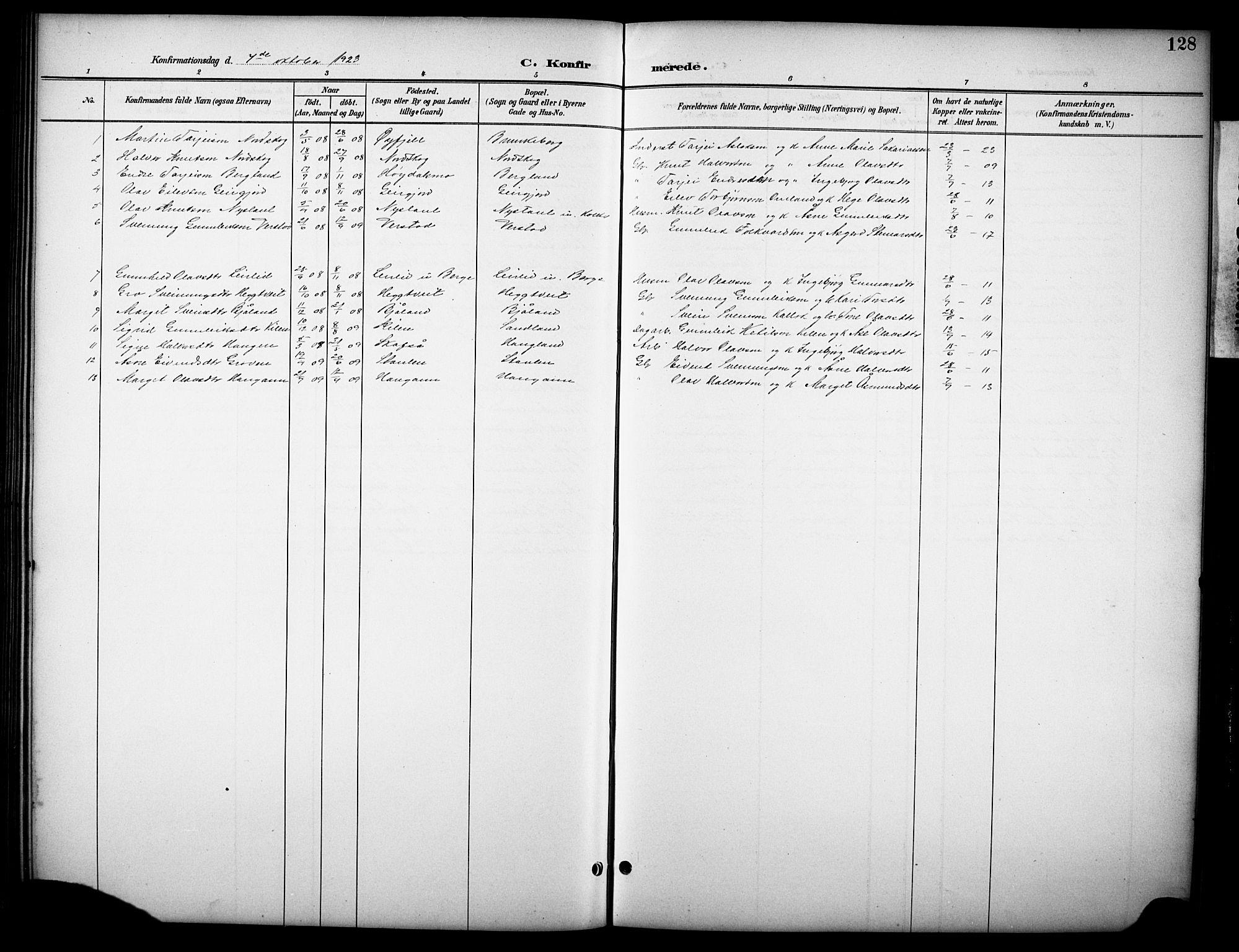 SAKO, Kviteseid kirkebøker, G/Gb/L0003: Klokkerbok nr. II 3, 1893-1933, s. 128